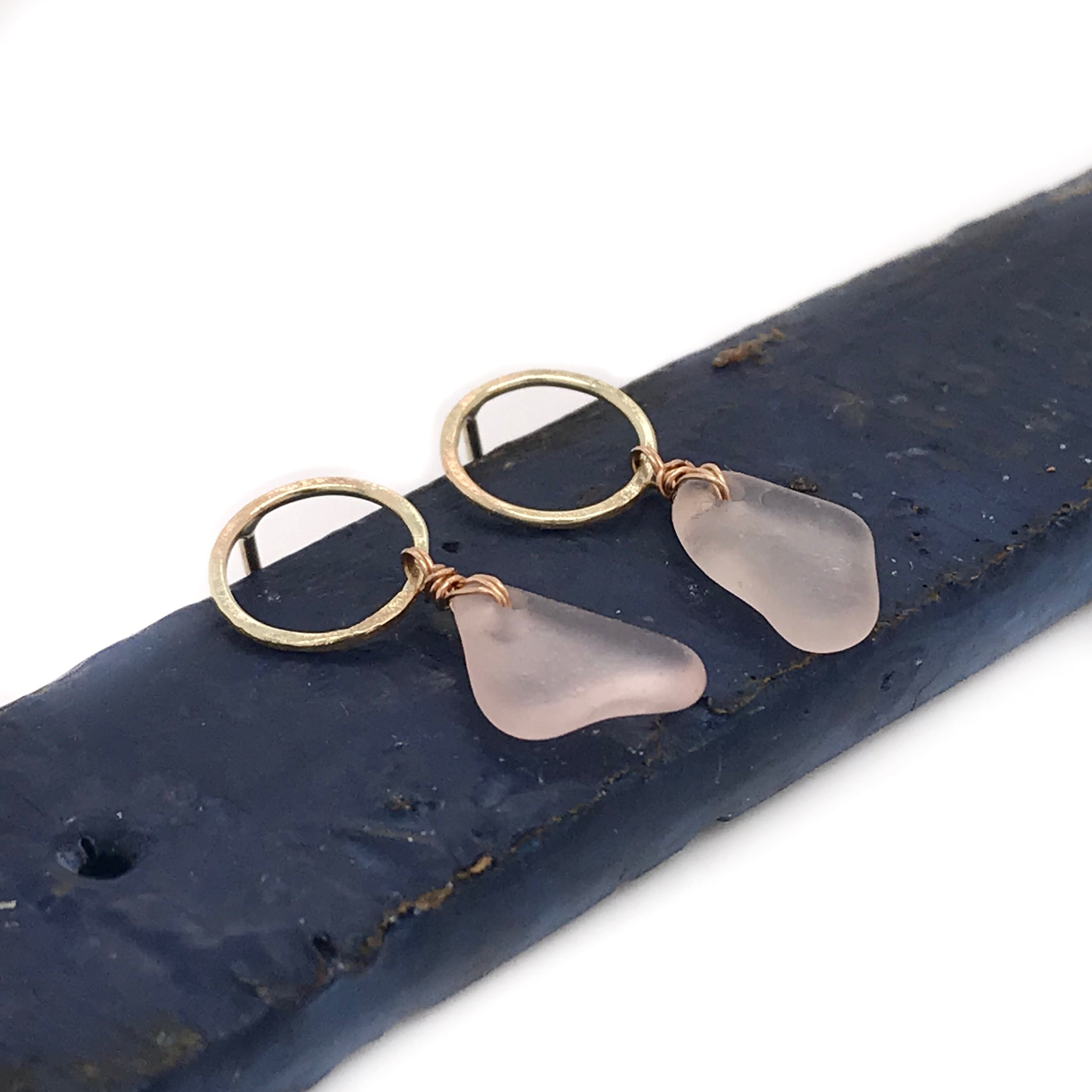 Pale Pink Seaglass Earrings - Gold Matte Hammered Circle Studs