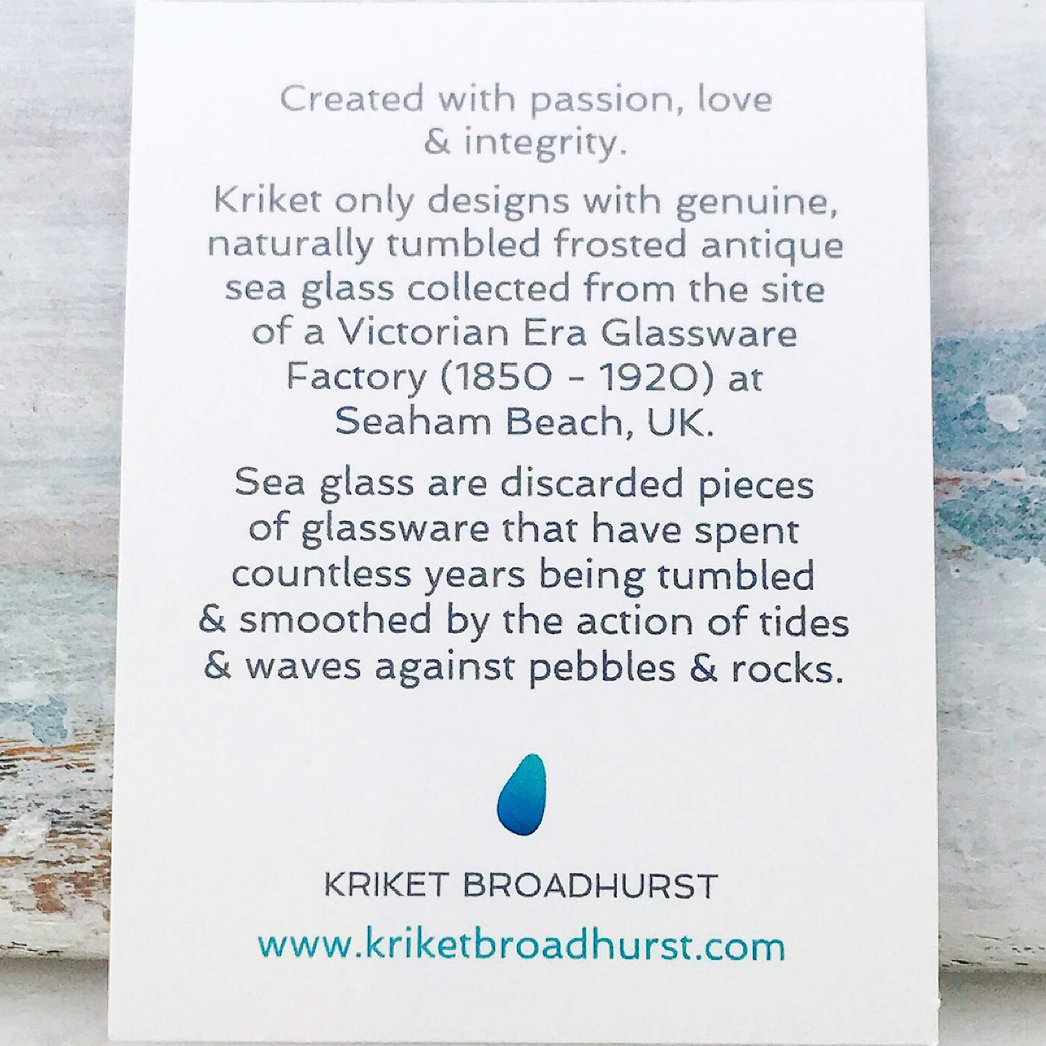 Kriket Broadhurst seaglass jewellery information card