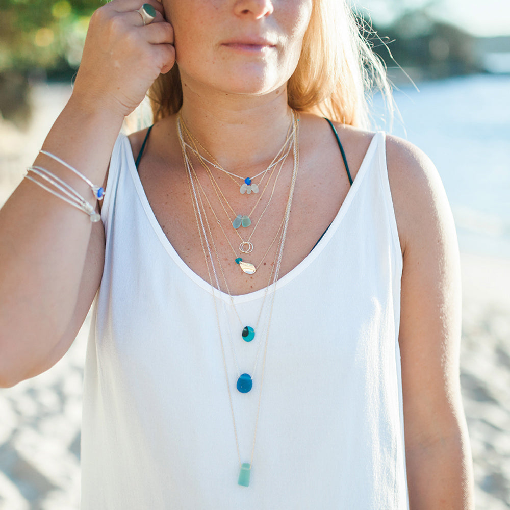 Teal Seaglass Necklace on Short Silver Chain - kriket broadhurst jewellery on model