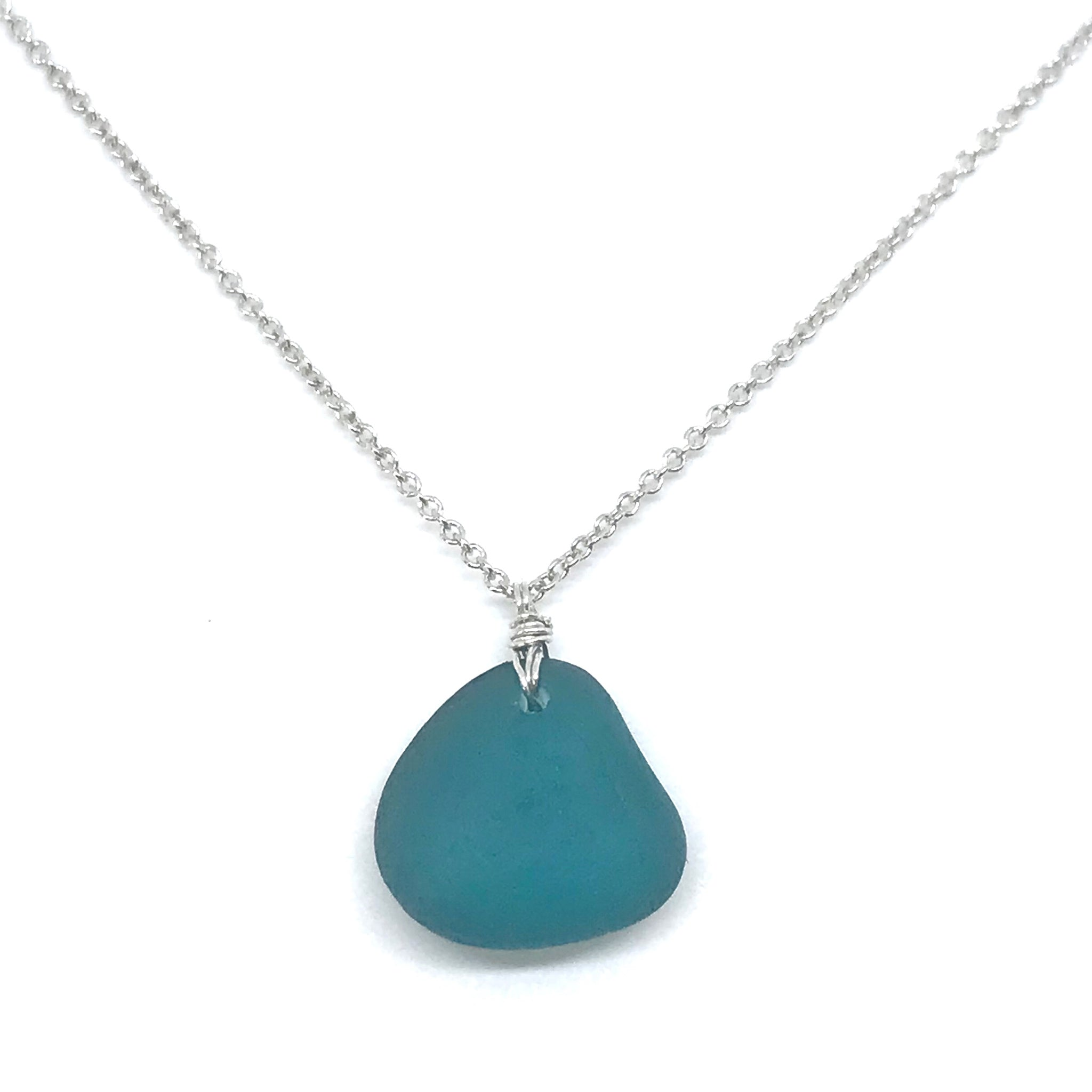 Teal Seaglass Necklace on Short Sterling Silver Chain - kriket broadhurst jewellery Sydney