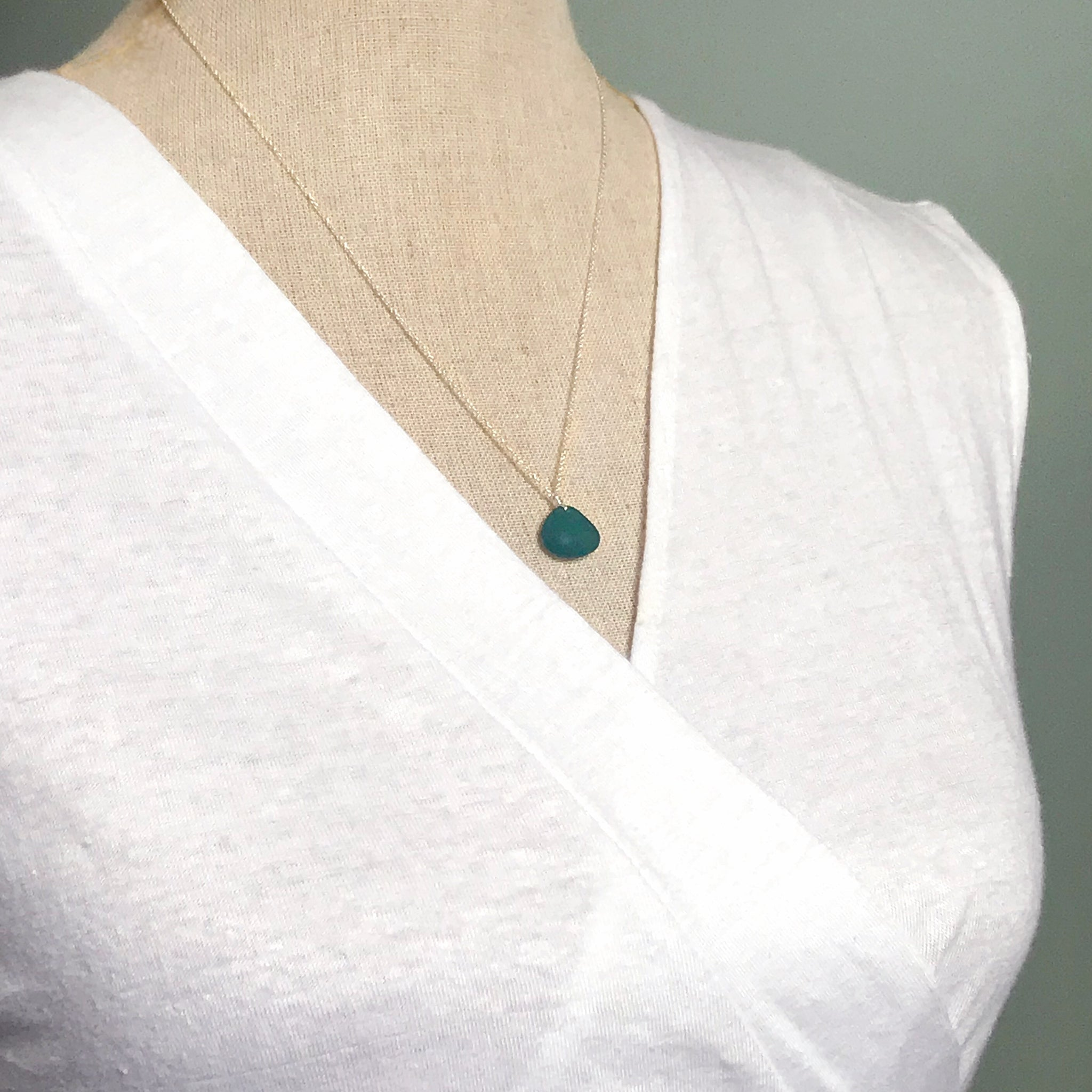 Short Silver Necklace with Teal Seaglass - kriket-broadhurst