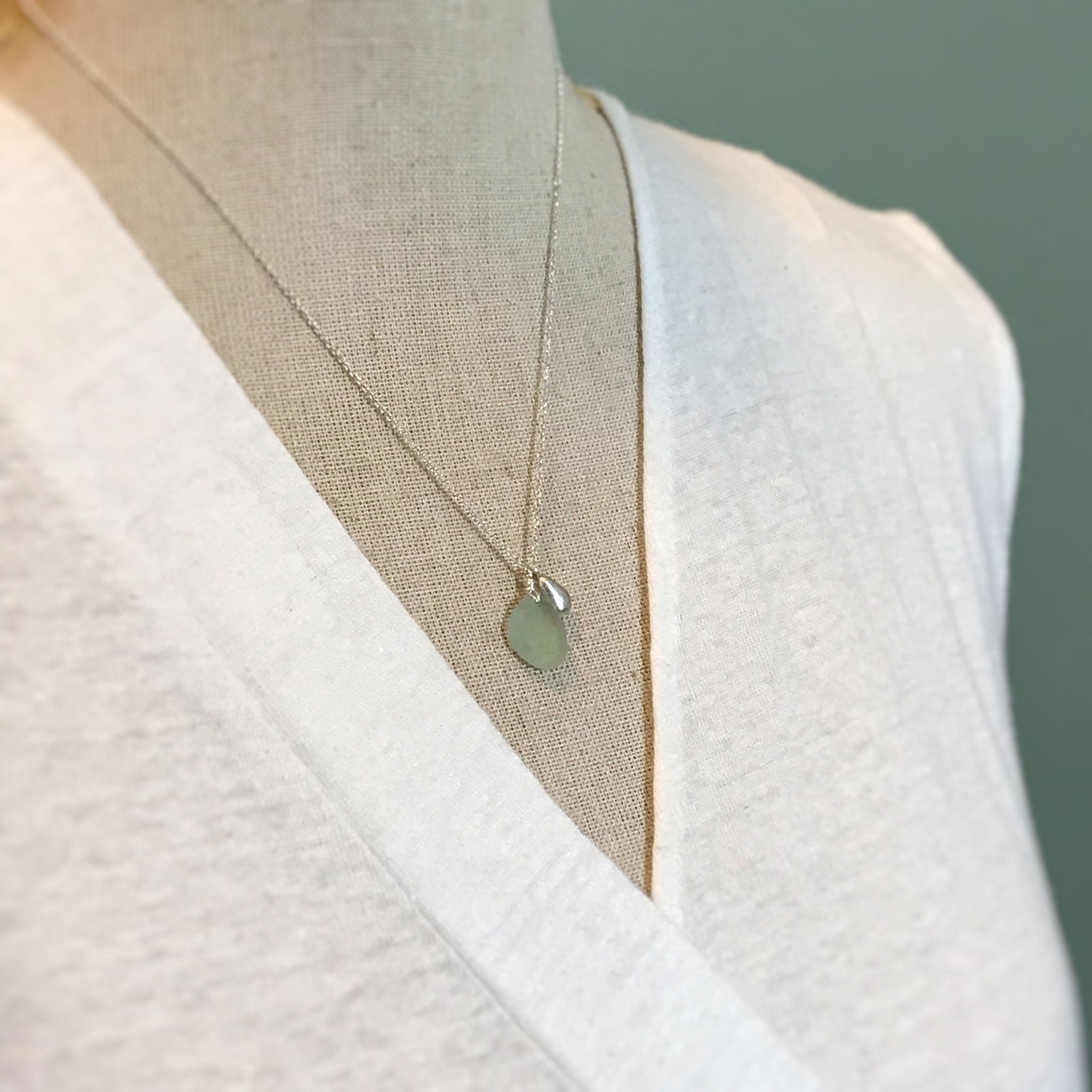 Pale Green Necklace with Seaglass and Solid Silver Charm - kriket-broadhurst jewellery Australian made