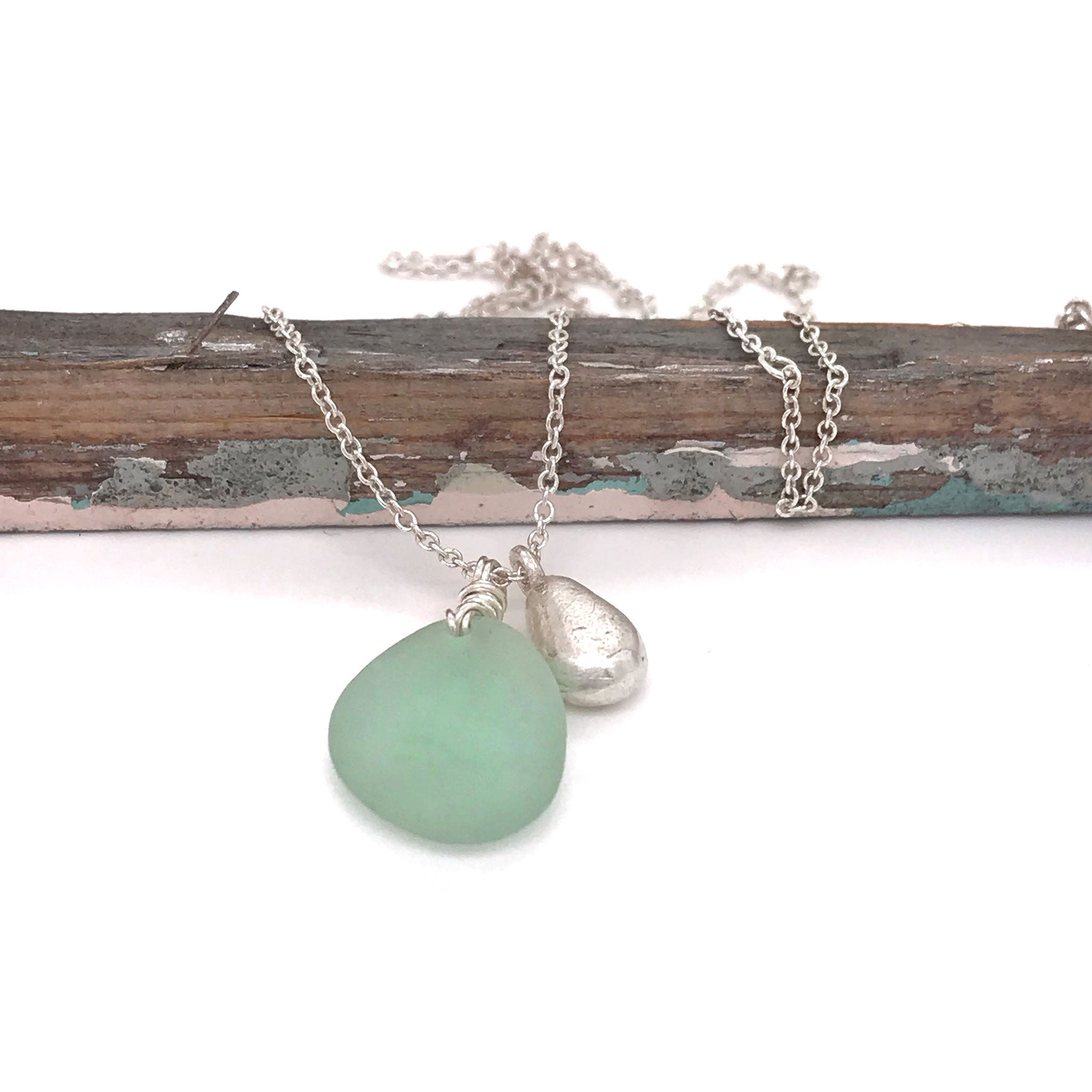 Pale Green Seaglass Necklace with Solid Silver Teardrop Charm - kriket-broadhurst jewelry