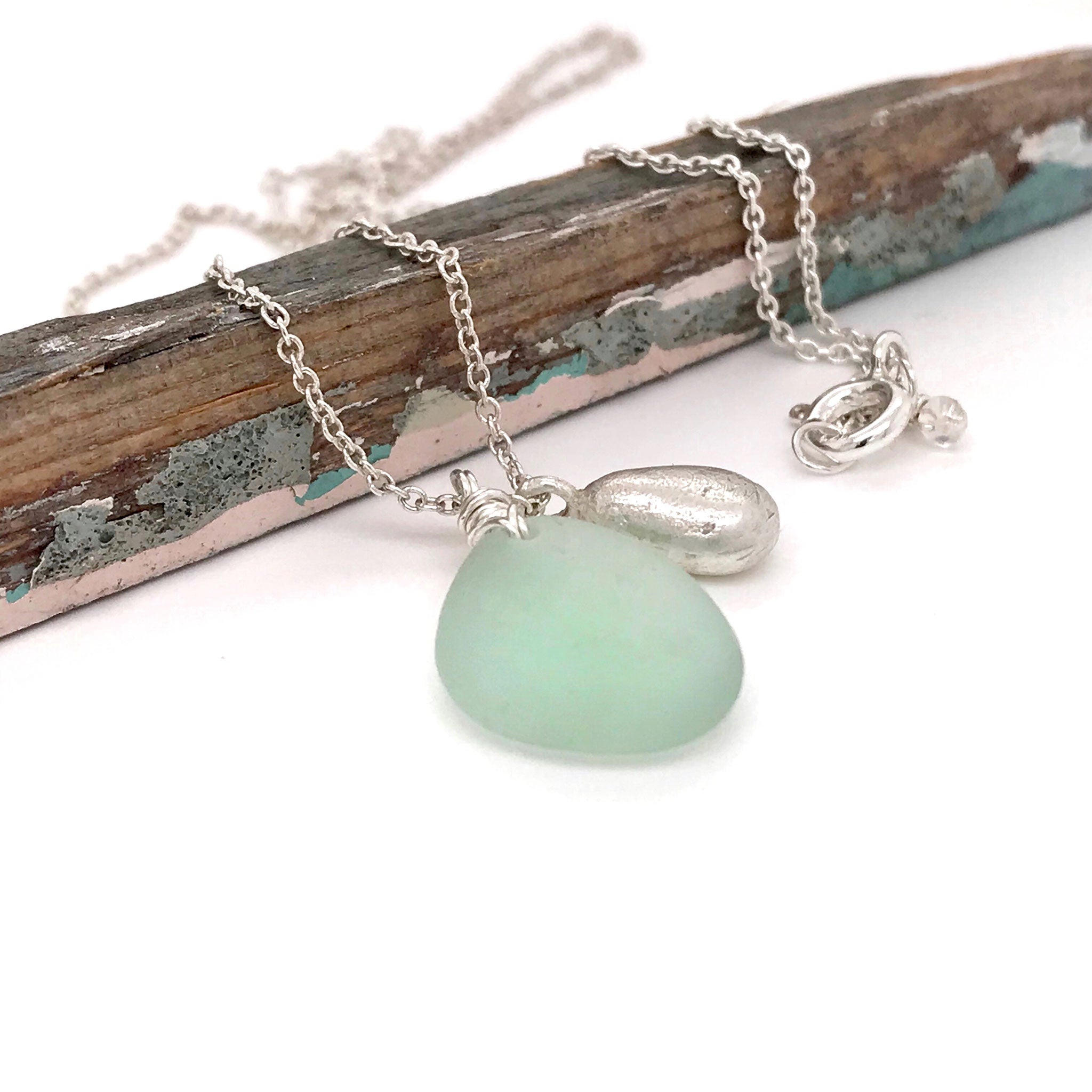 Sterling Silver necklace with Pale Green Seaglass and Solid Silver Teardrop Charm - kriket-broadhurst
