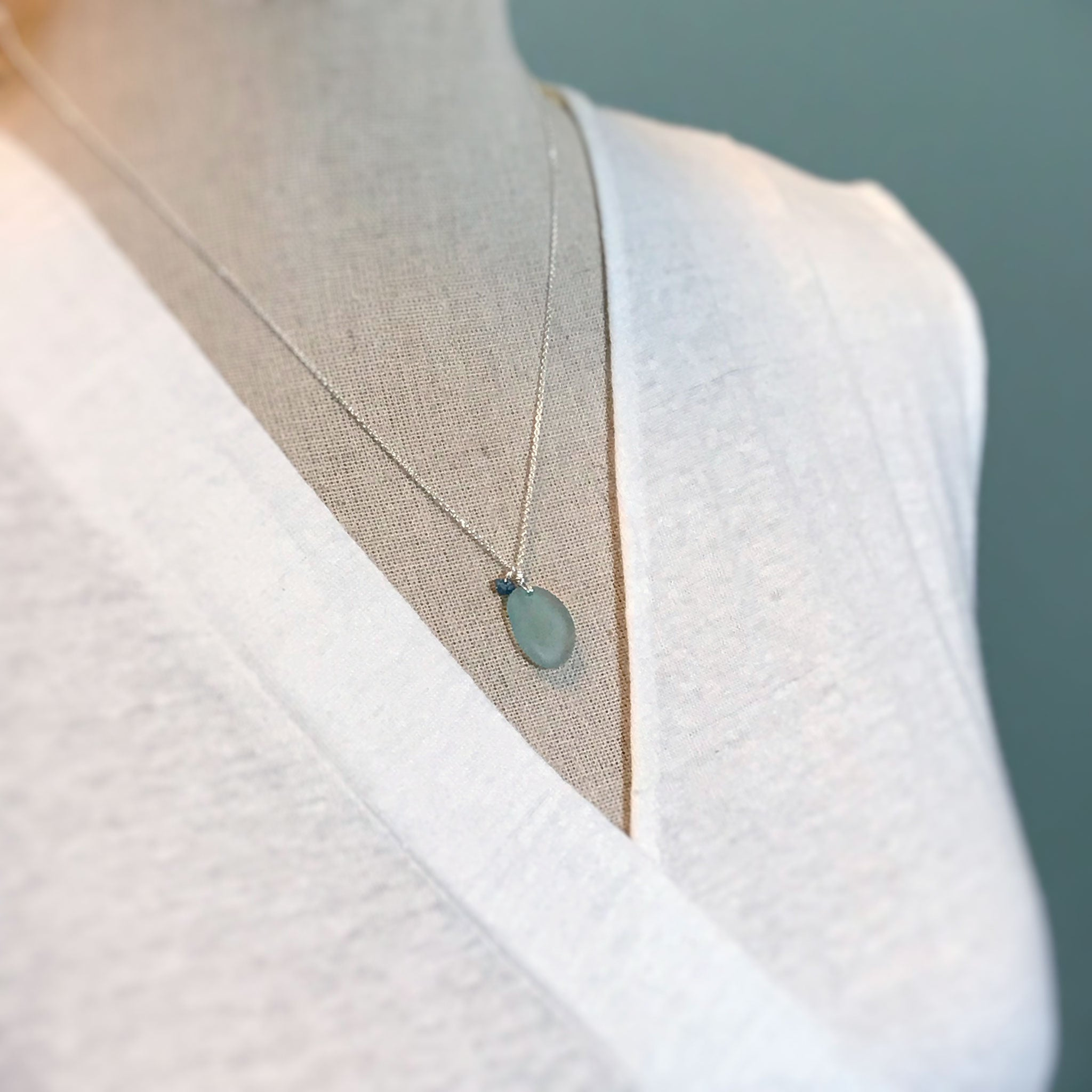 Aqua Seaglass on sterling silver chain with Blue Rough-cut Diamond - kriket-broadhurst Seaglass jewellery