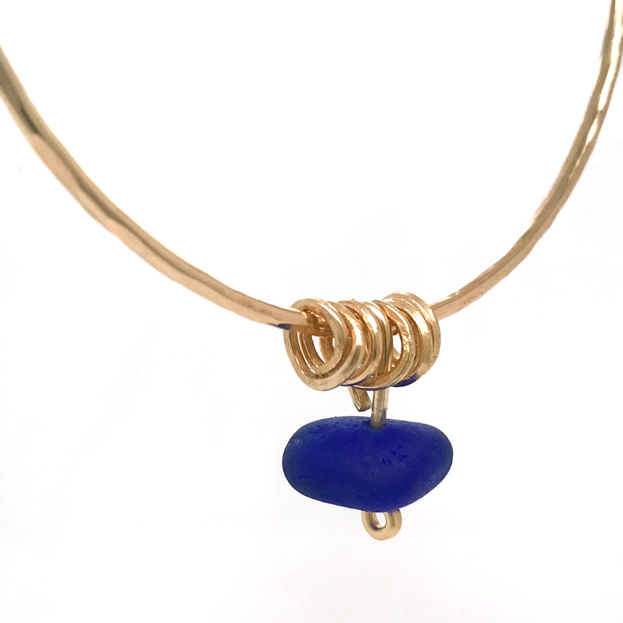 Cobalt Blue beach glass Bangle - Gold - kriket-broadhurst jewelry