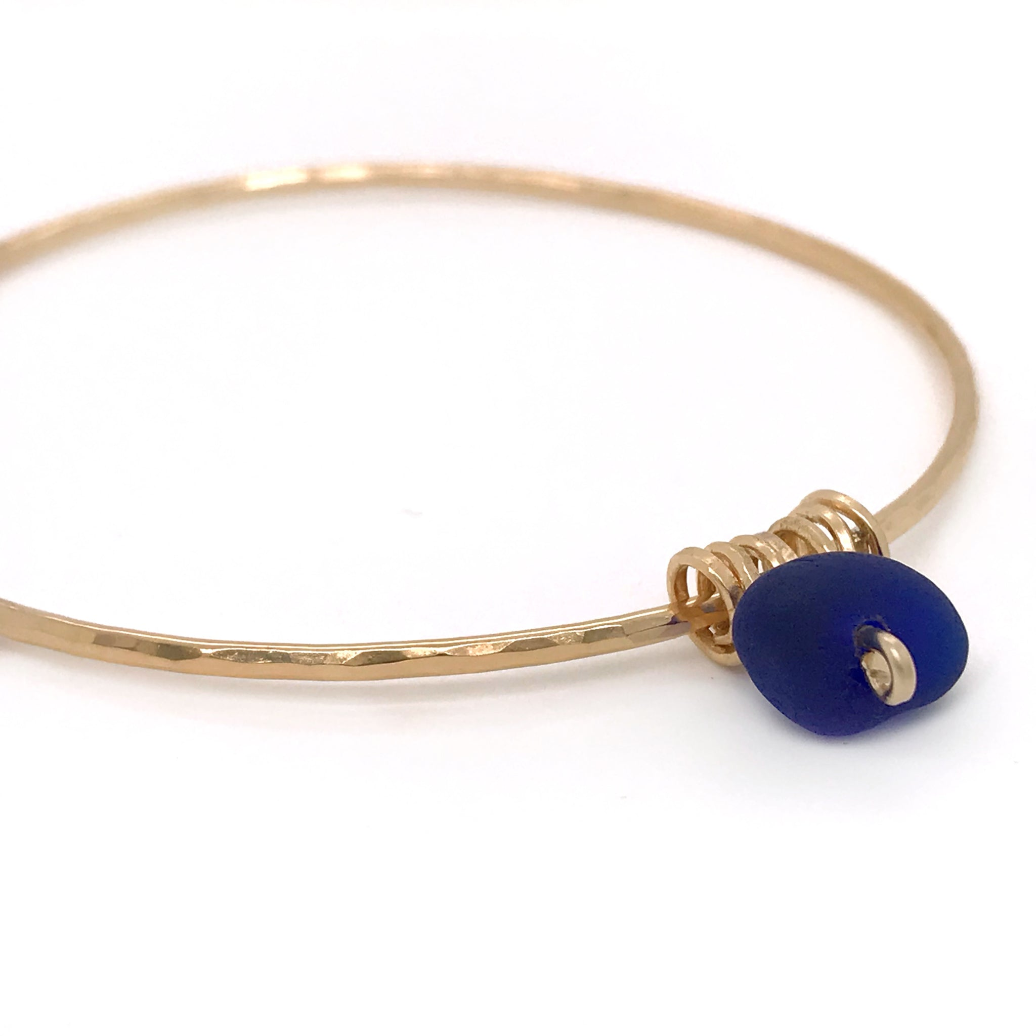 gold bangle with Cobalt Blue Seaglasskriket-broadhurst jewellery