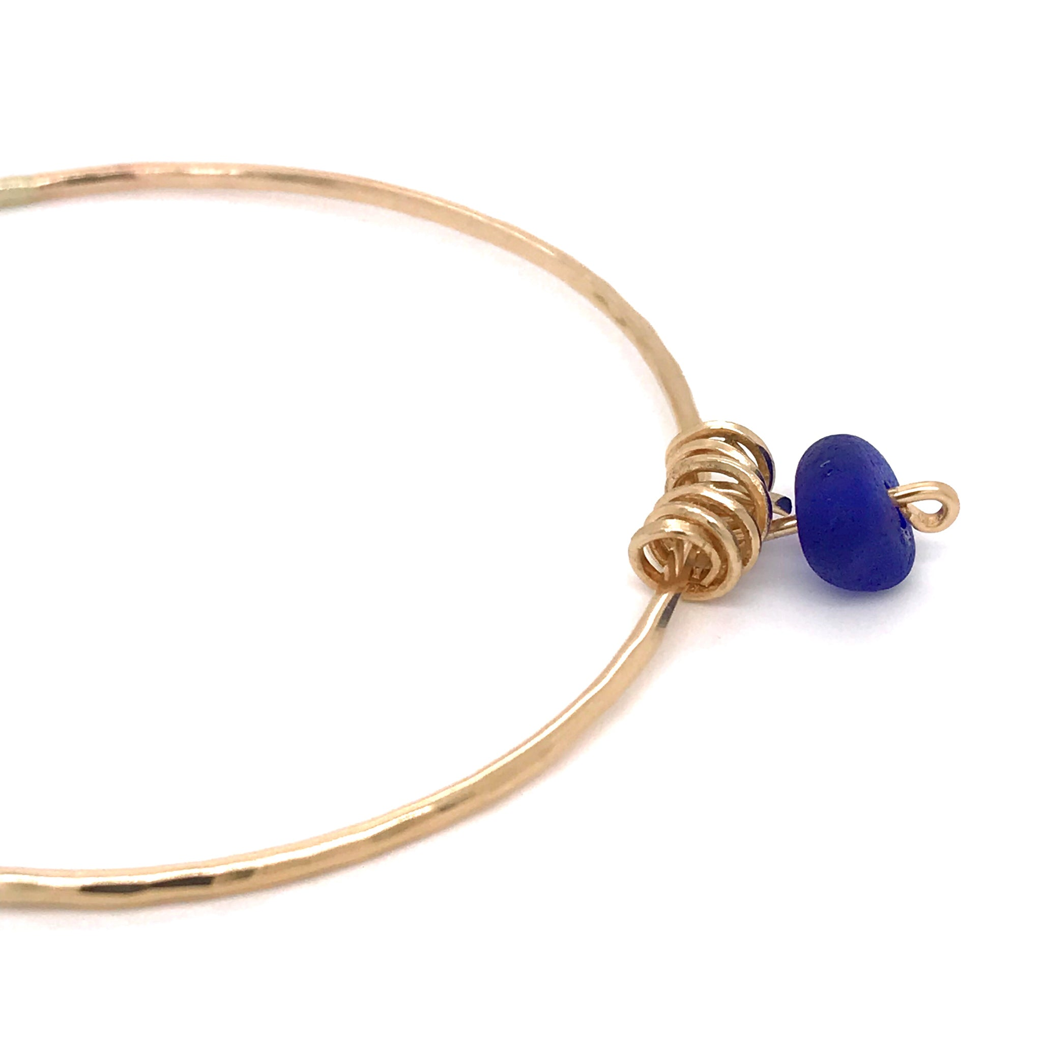 Cobalt Blue Seaglass Bangle - Gold - kriket-broadhurst