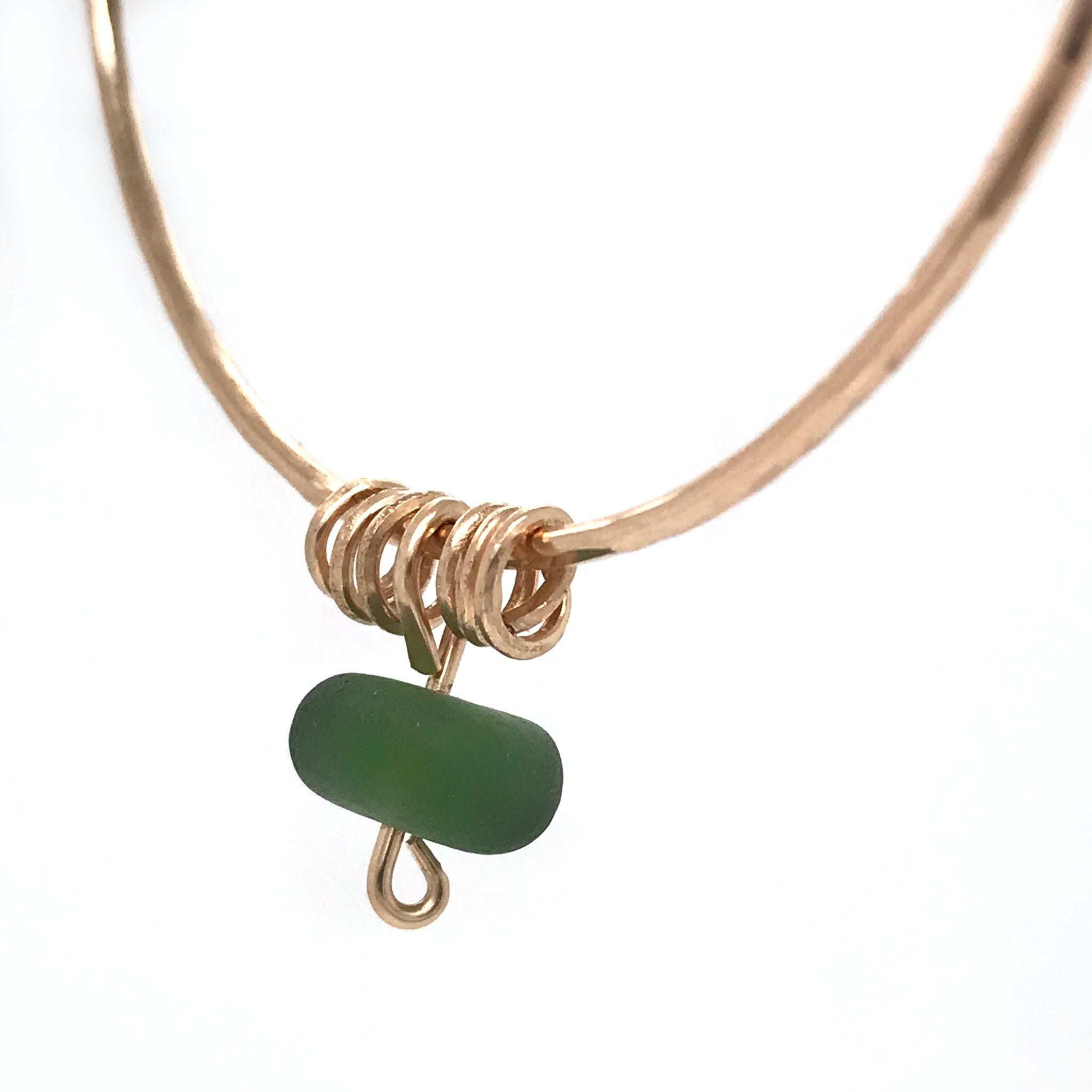 Gold bangle with Green Seaglass - kriket broadhurst artisan jewellery