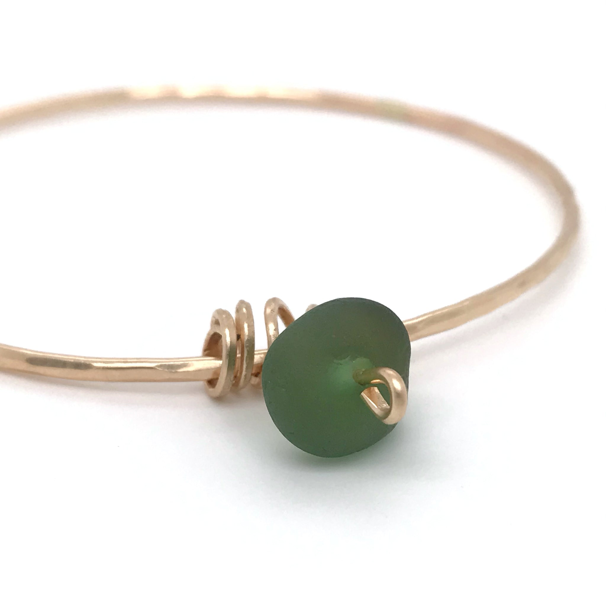 Green Seaglass on gold Bangle  - kriket broadhurst jewelry