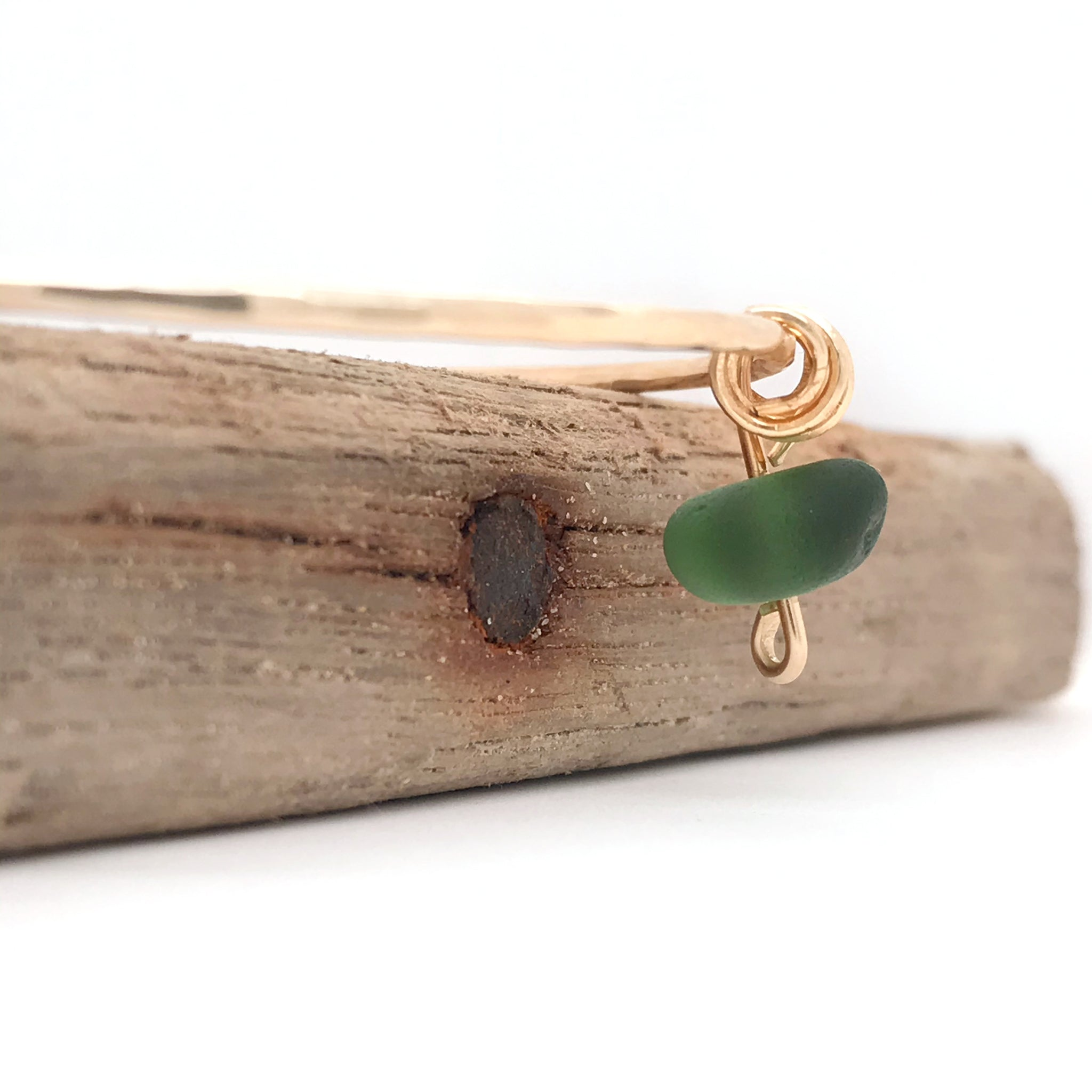 Gold Bangle with Green Seaglass - kriket-broadhurst