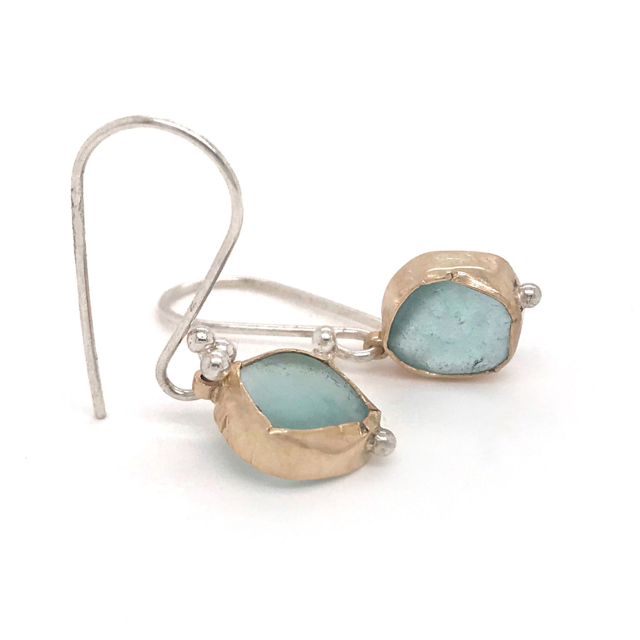 aqua beach glass earrings bezel set in gold hanging on sterling silver hooks Kriket Broadhurst jewellery