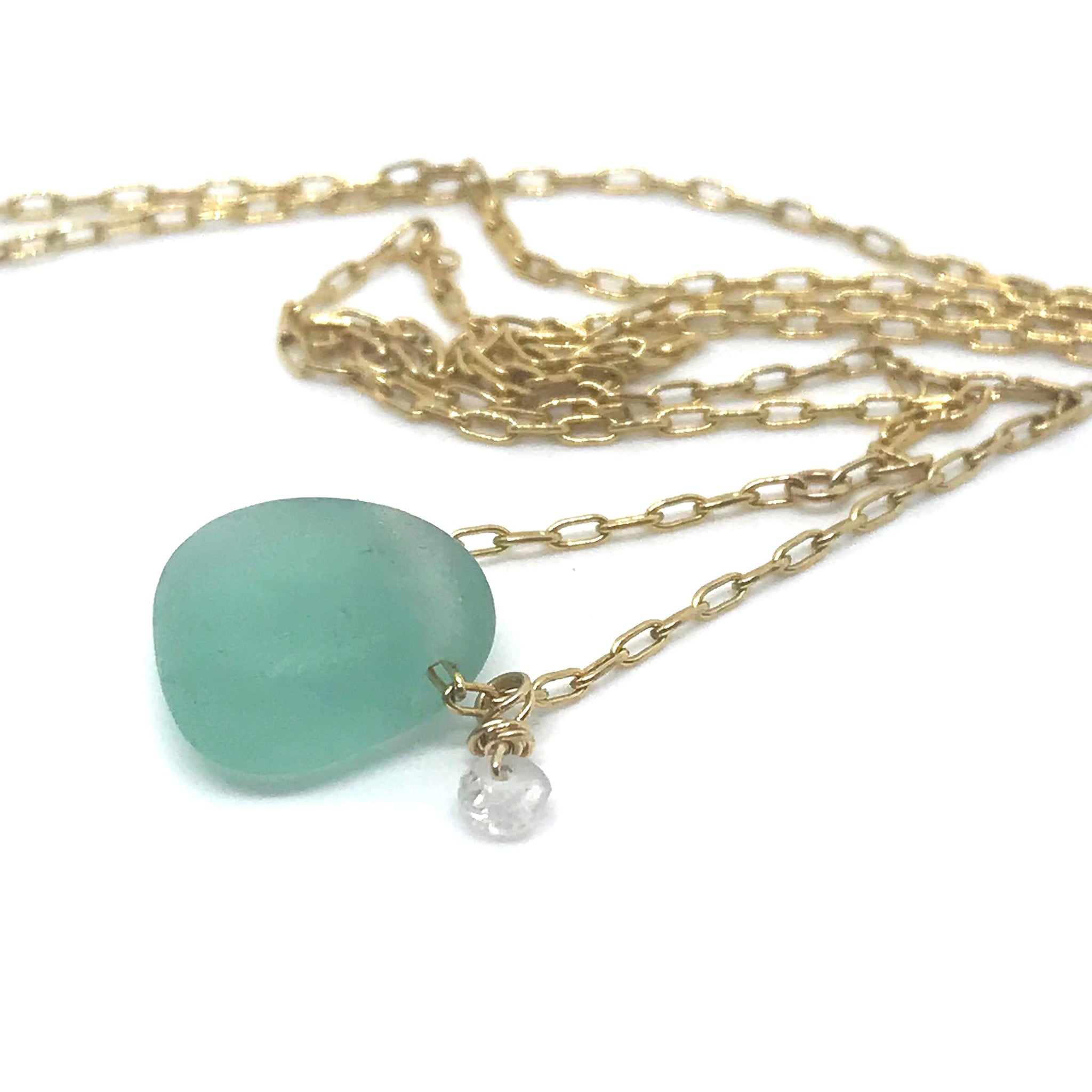 Aqua Seaglass Necklace on Short Gold chain - kriket-broadhurst seaglass jewellery