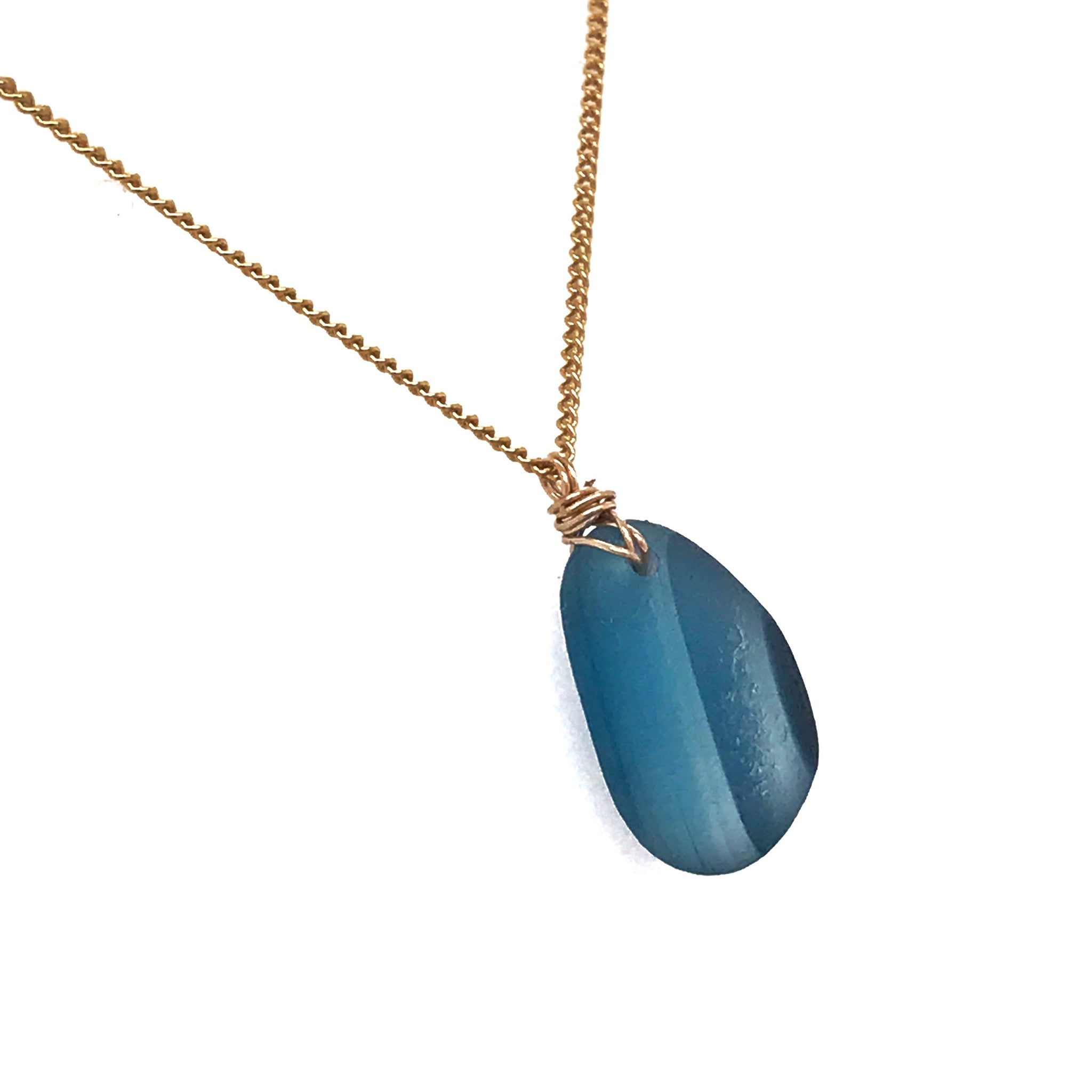 Blue-multi-seaglass-necklace-on-gold-chain-kriket-broadhurst-jewellery-Sydney