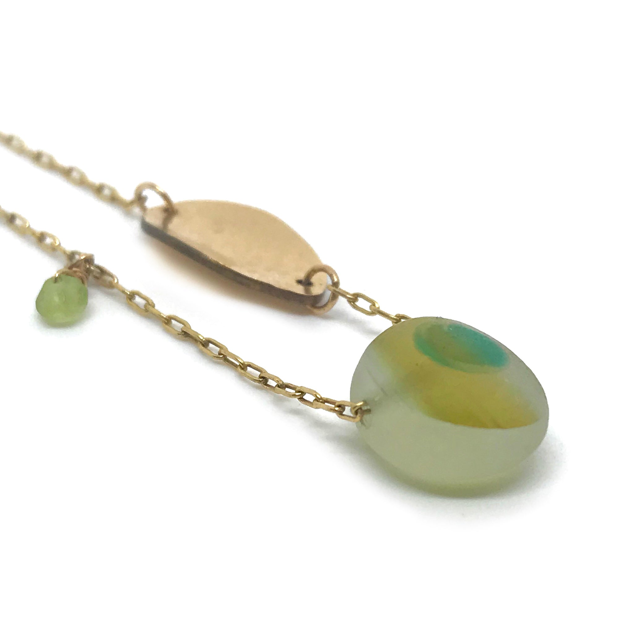 Multi-coloured Seaglass Necklace on Gold chain - kriket broadhurst jewellery