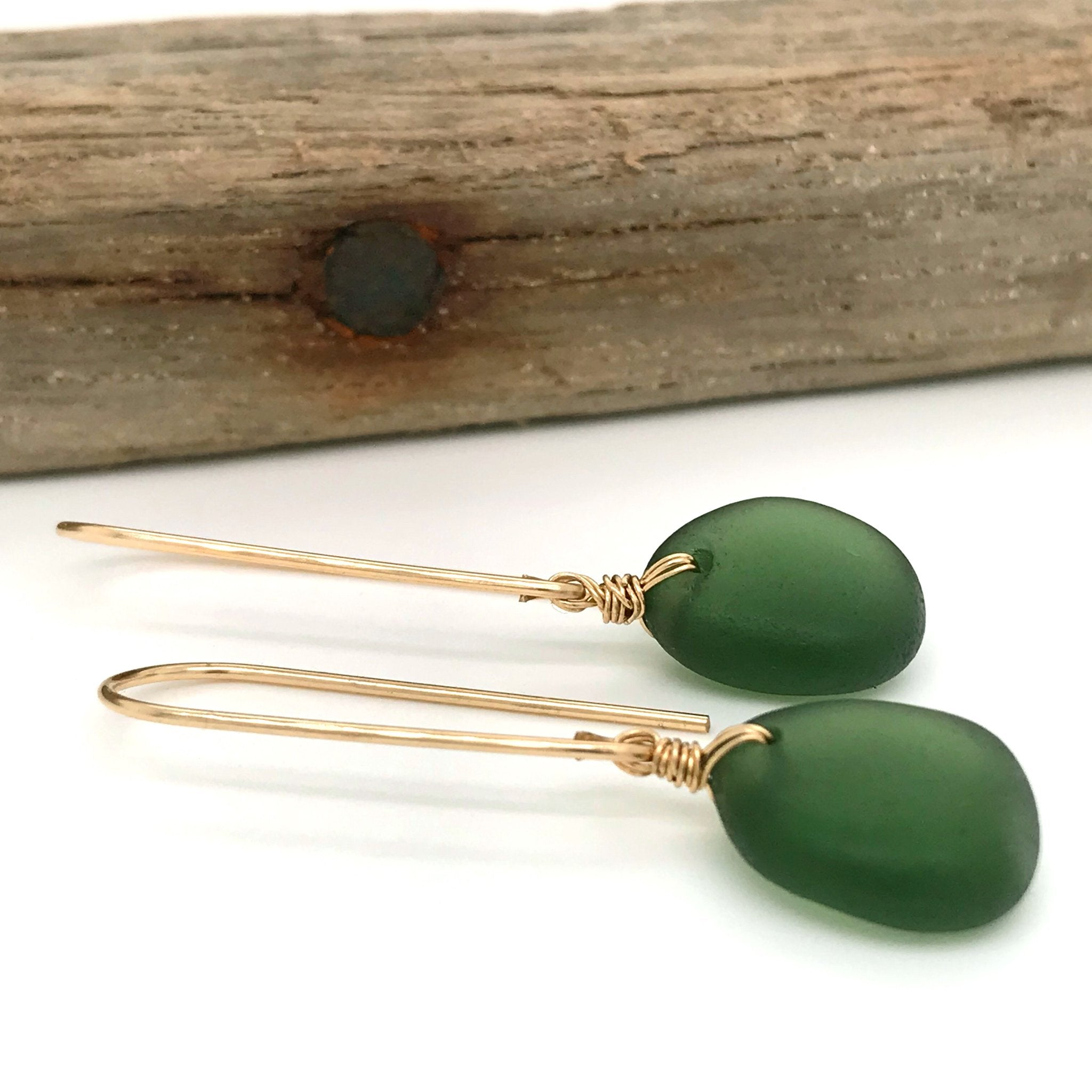 kriket broadhurst jewellery gold earrings with green seaglass