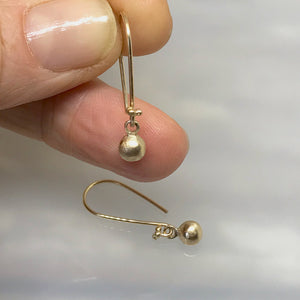 Gold Pebble Ball Drop Earrings