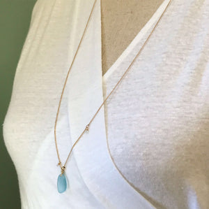 Pale Blue Seaglass Necklace - Gold - jewellery - anniversary gift beach vacation jewellery Dainty gold necklace gift for seaglass lover Gold
