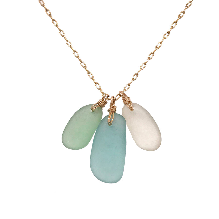 seaglass cluster necklace aqua green and clear on gold chain kriket broadhurst unique jewellery gifts for women Sydney