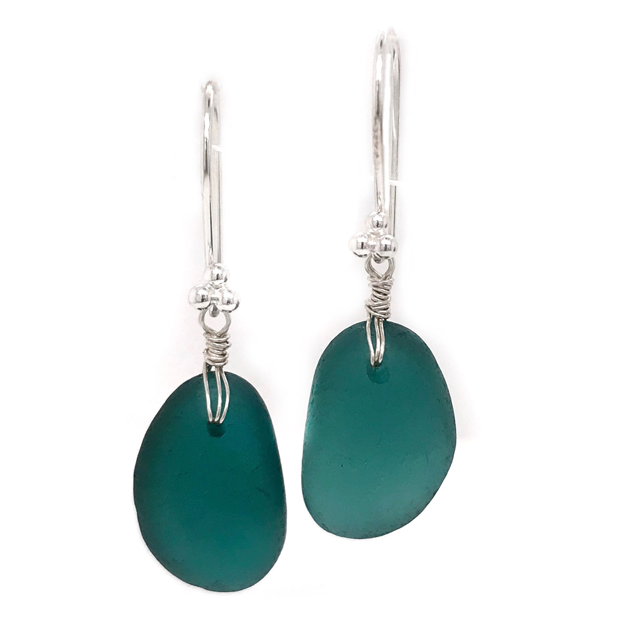 teal seaglass earrings sterling silver drops Kriket Broadhurst jewellery Australian made