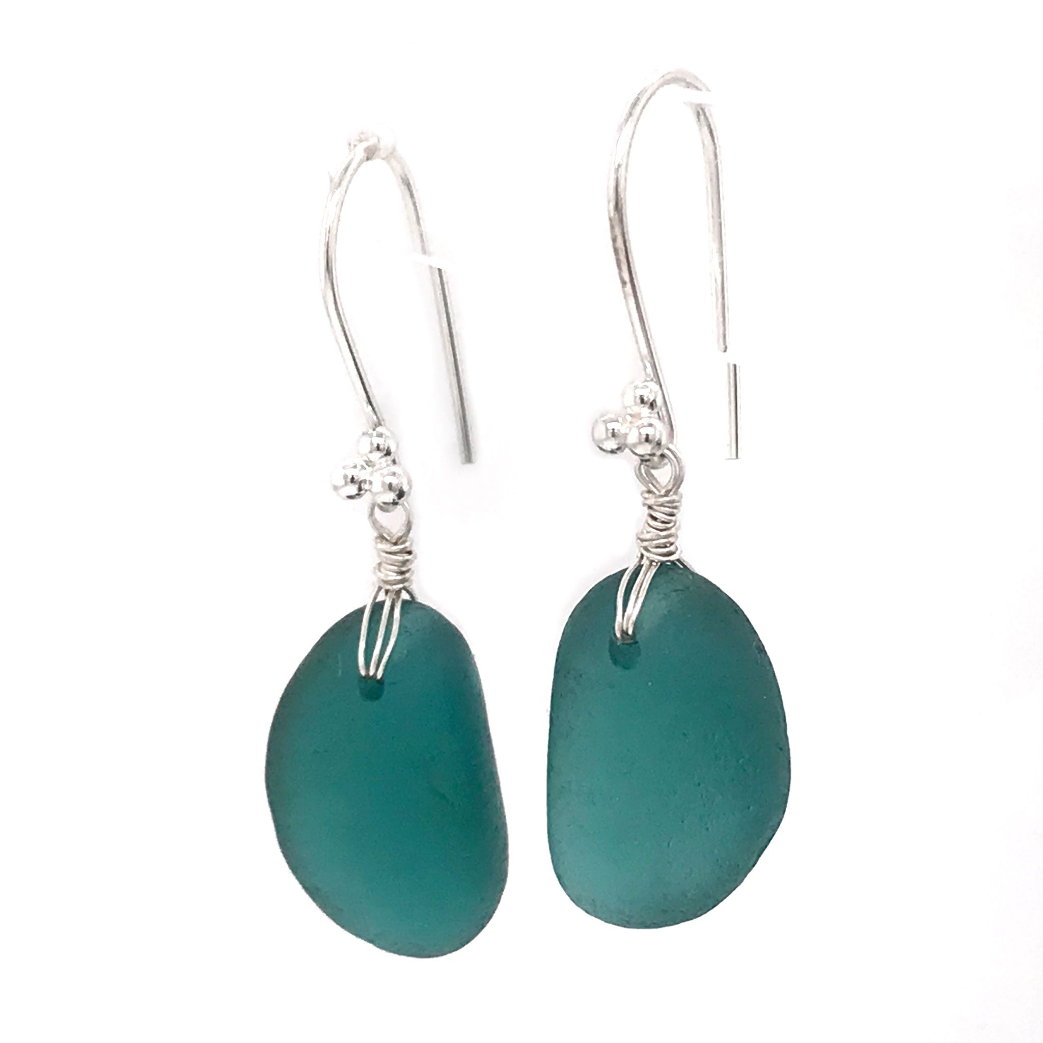 teal seaglass earrings sterling silver drops Kriket Broadhurst jewelry Christmas gift