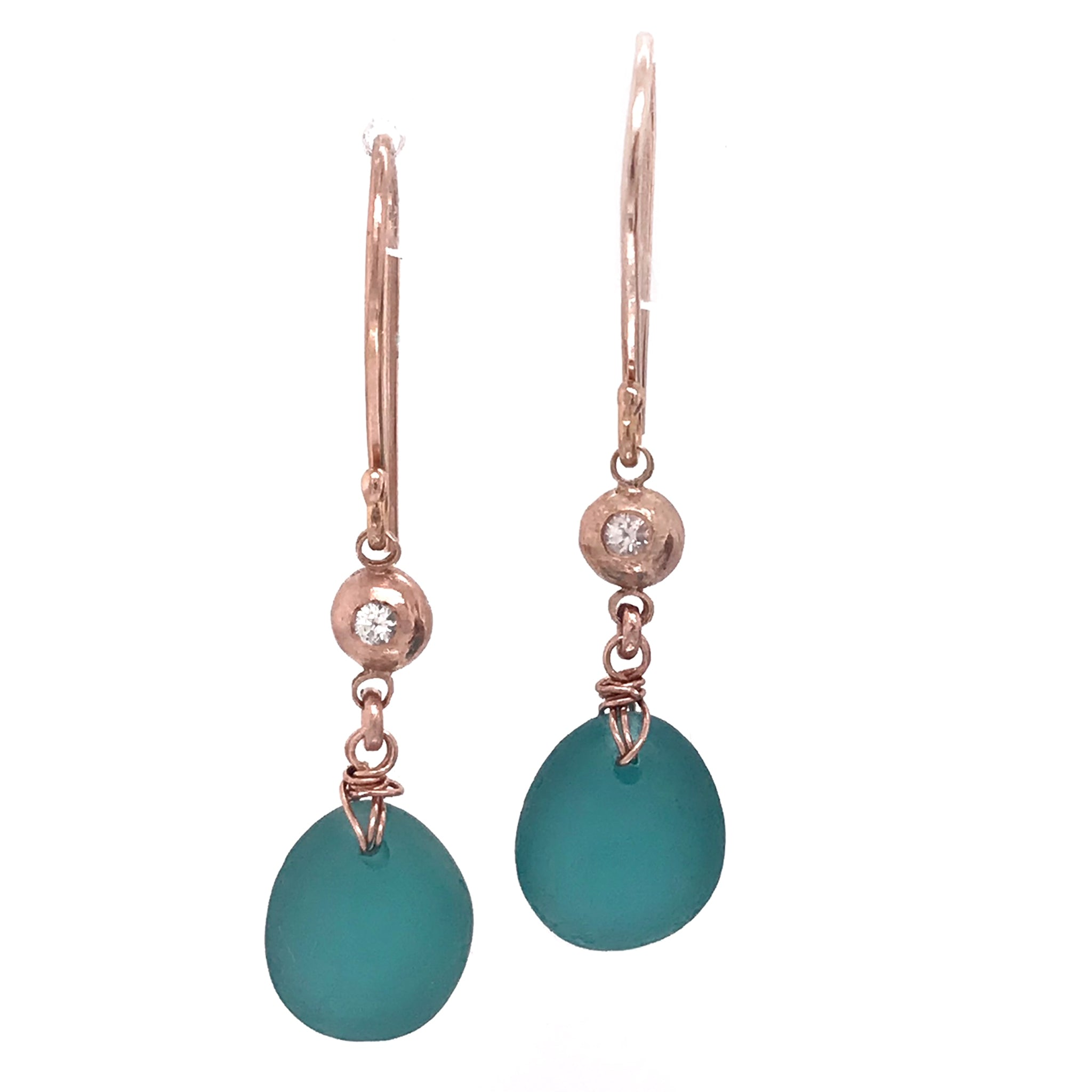 Teal-seaglass-earrings-rose-gold-with-white-sapphires-kriket-broadhurst-unique-Christmas-gifts-Sydney