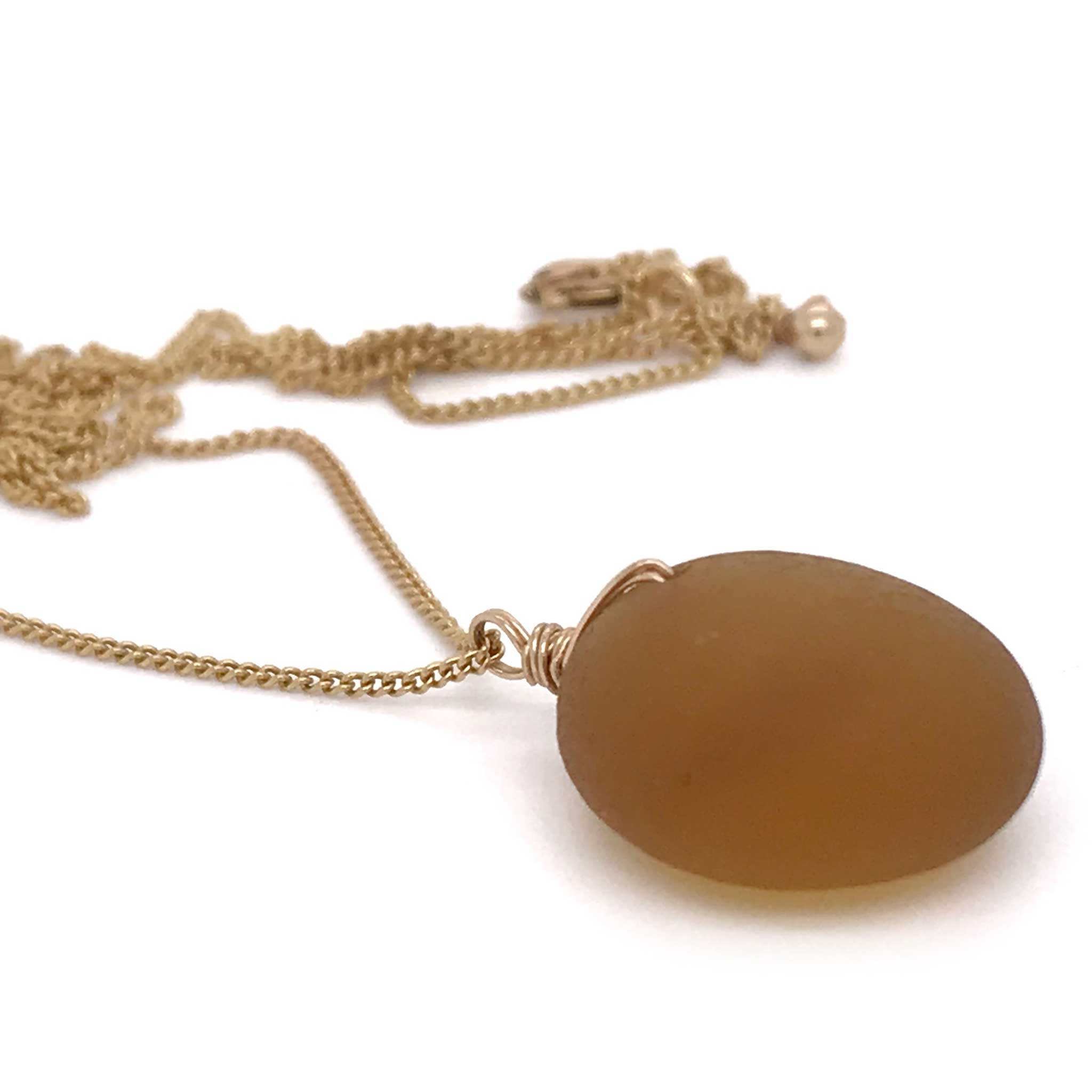 rare amber seaglass pendant on fine gold chain kriket broadhurst jewellery near me