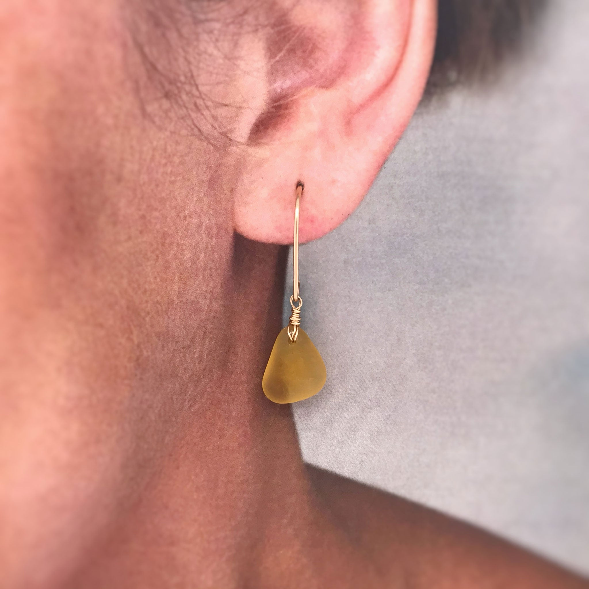 kriket broadhurst seaglass earrings amber gold