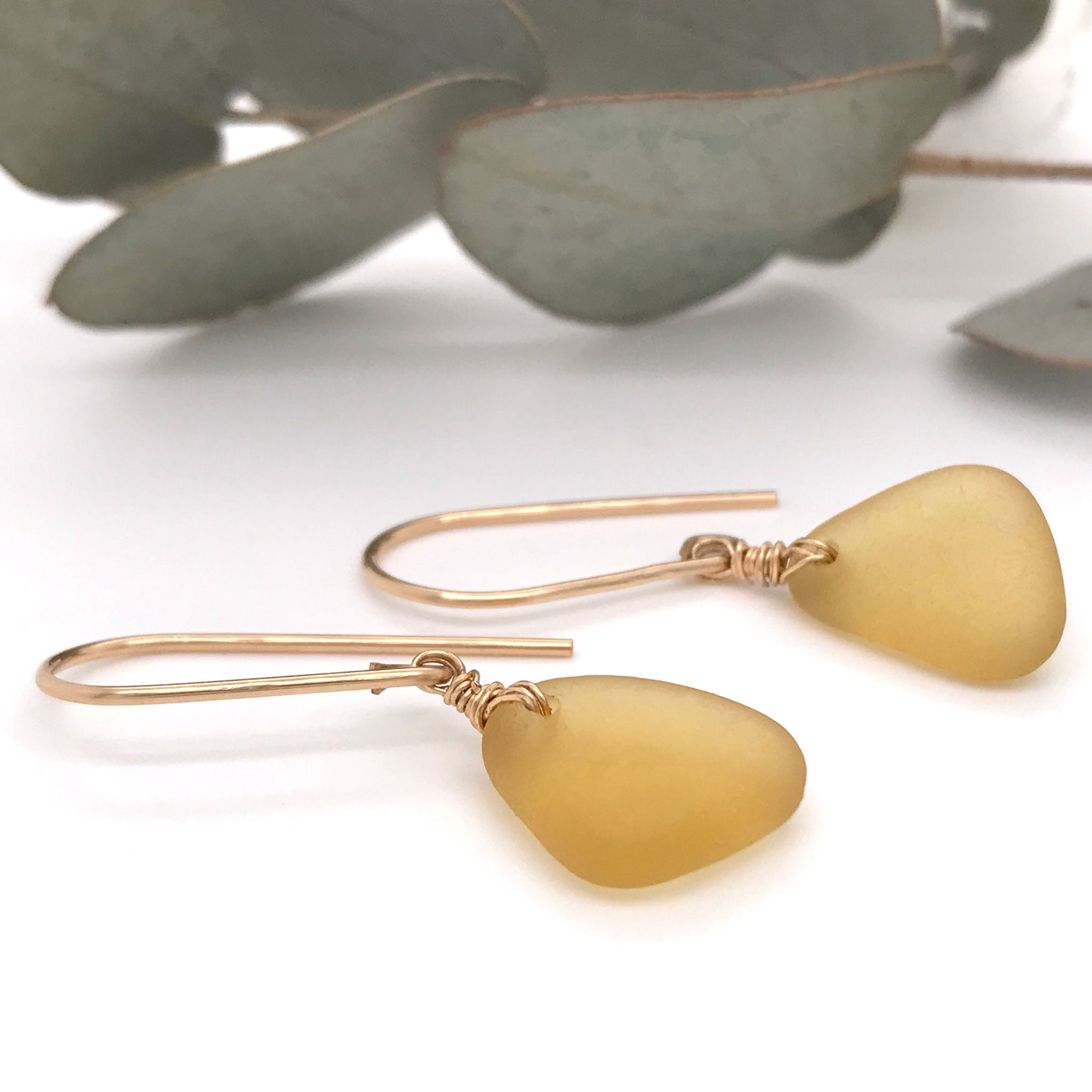 amber seaglass earrings seaglass jewellery