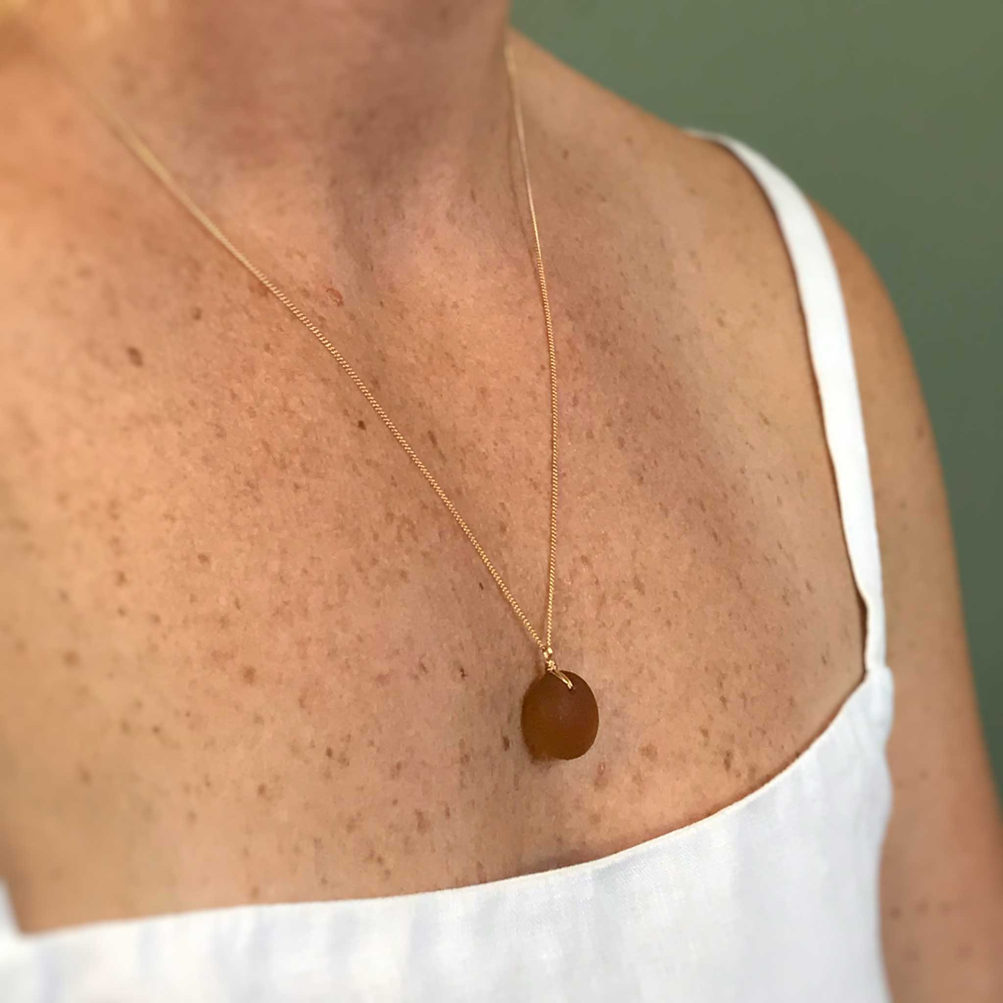unique gift for wife amber necklace on gold chain kriket broadhurst jewellery Sydney