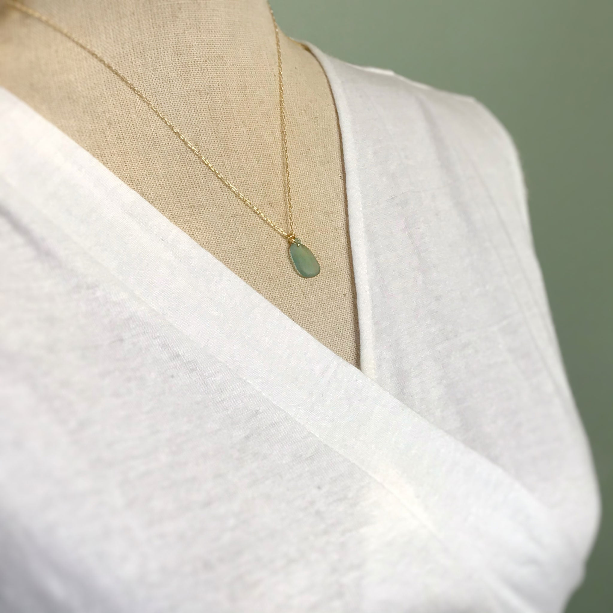 gold chain necklace with aqua seaglass and aquamarines stones kriket Broadhurst jewellery