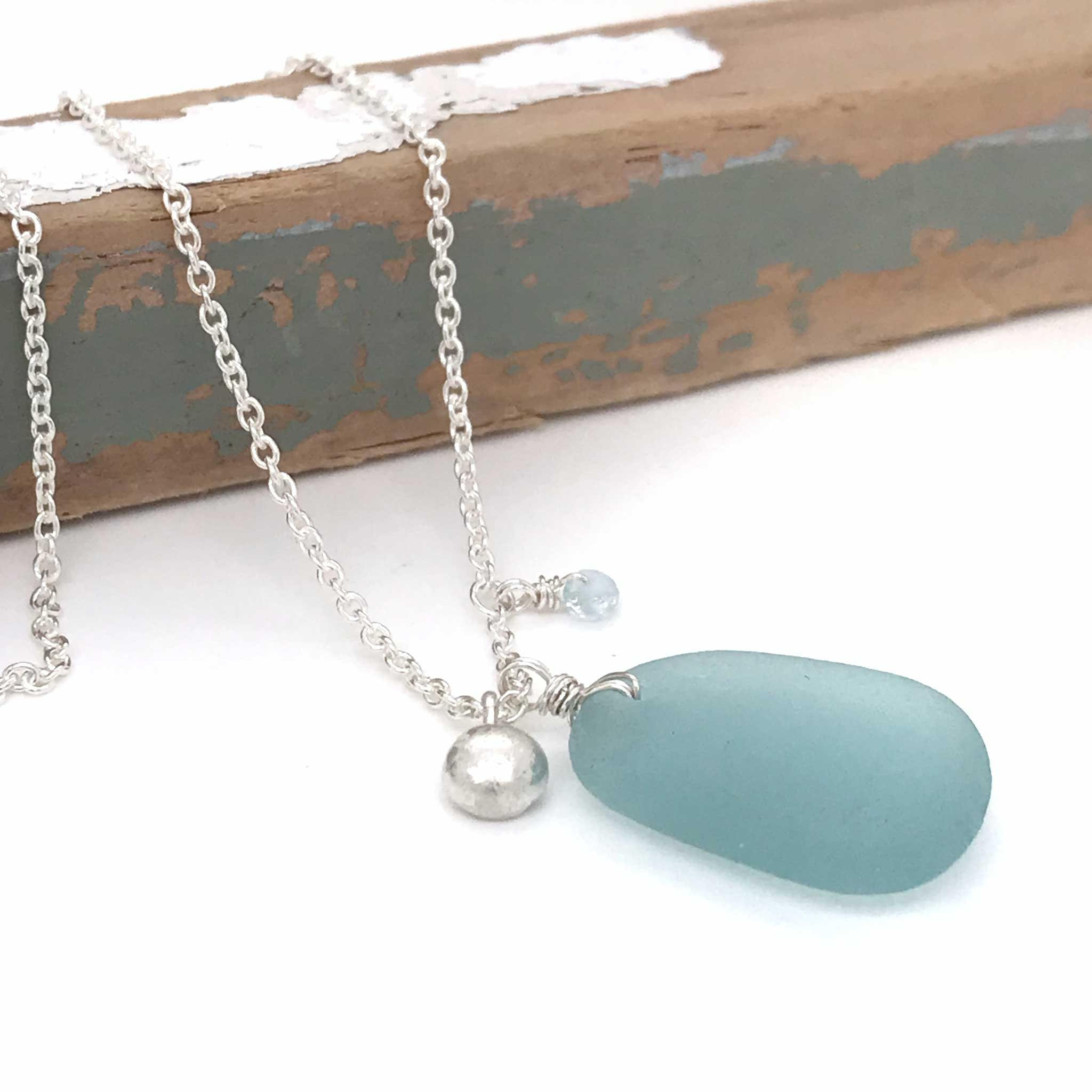 aqua sea glass necklace with solid silver charm kriket broadhurst jewellery Sydney