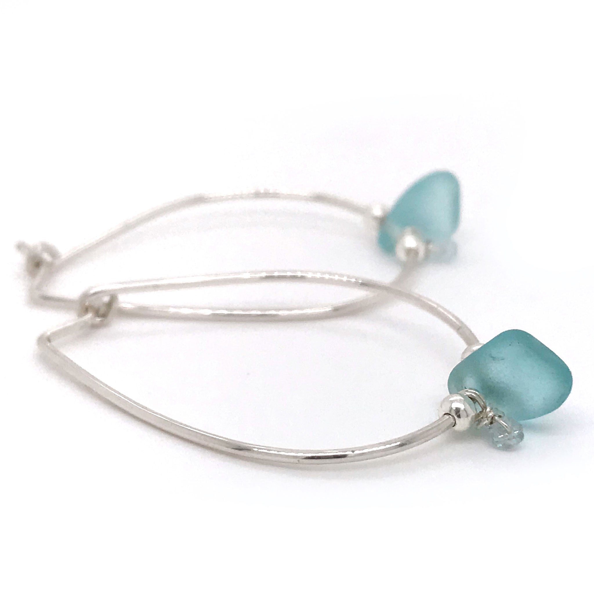 aqua seaglass earrings sterling silver hoops  Kriket Broadhurst jewellery