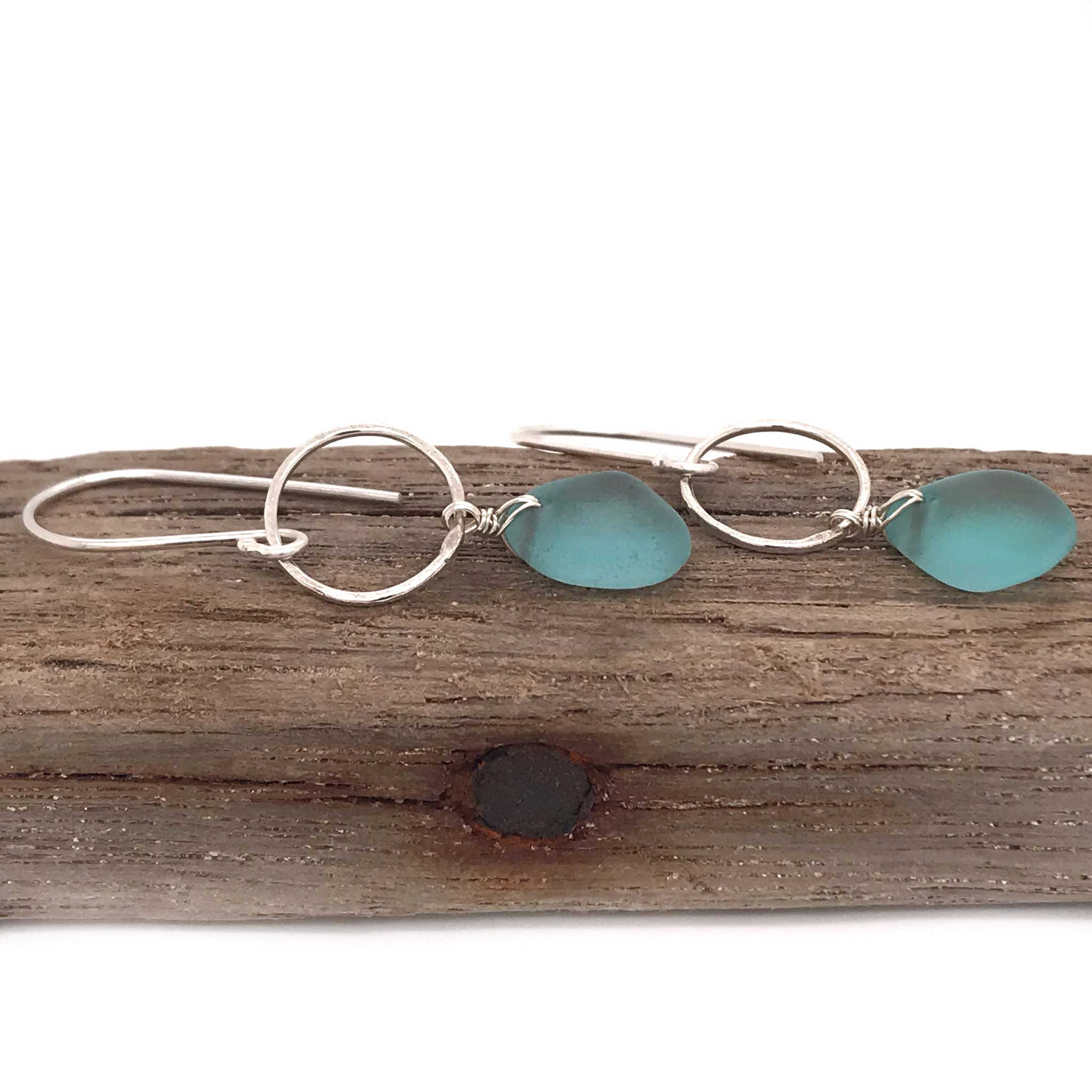 aqua blue earrings seaglass and sterling silver circles kriket Broadhurst jewellery