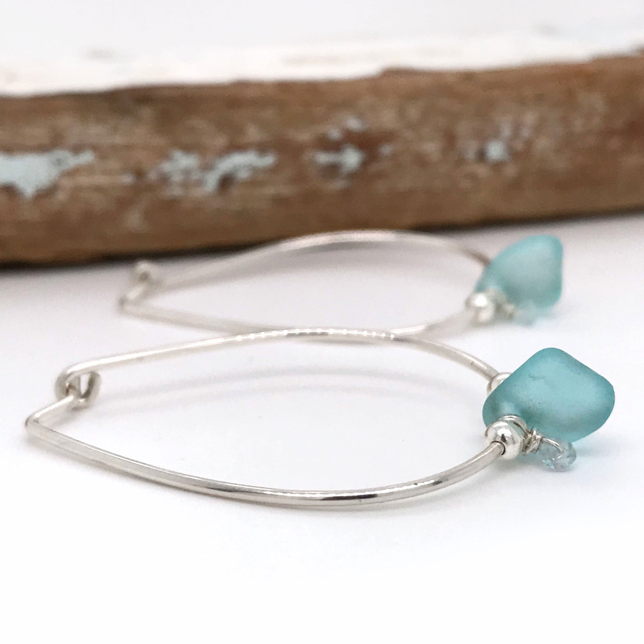 aqua blue seaglass hoop earrings sterling silver Kriket Broadhurst jewellery