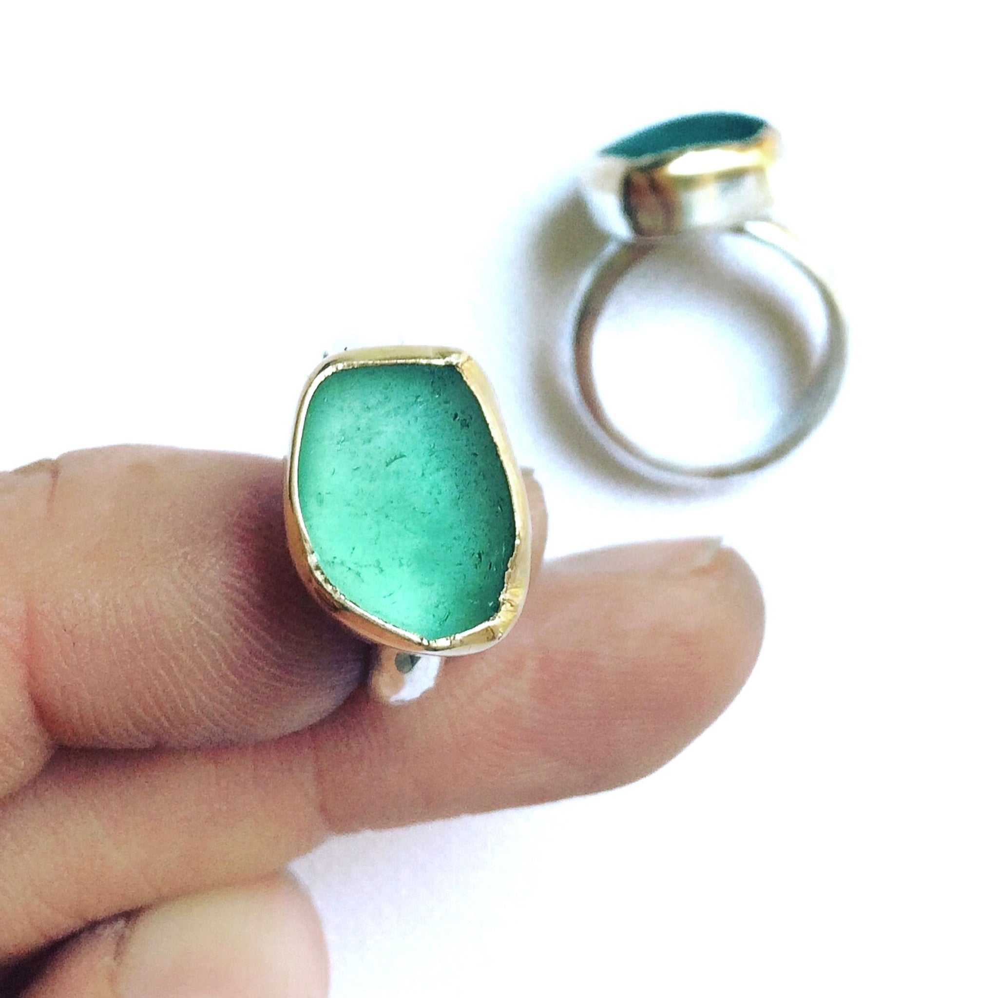 aqua green seaglass ring