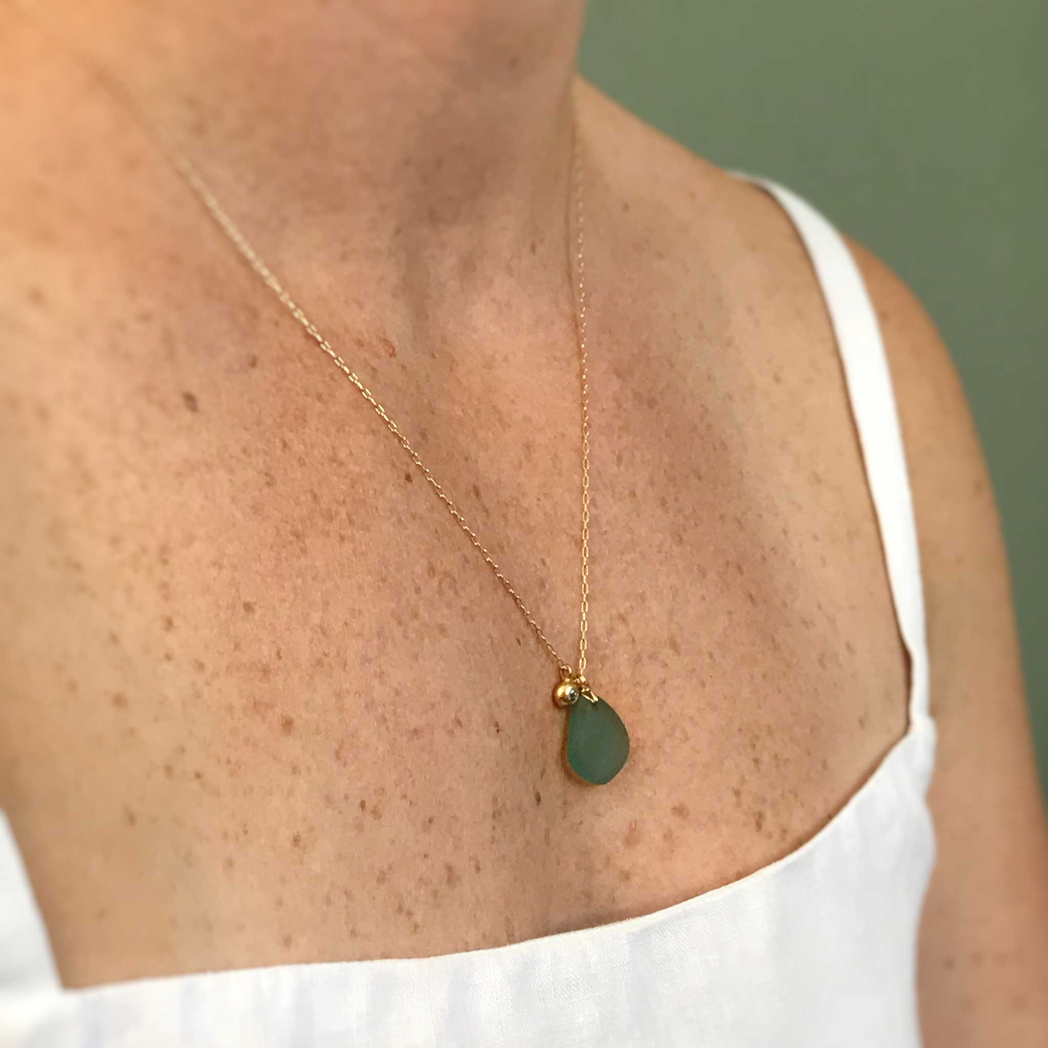 gift for wife aqua necklace with gold charm kriket broadhurst jewellery shop Sydney
