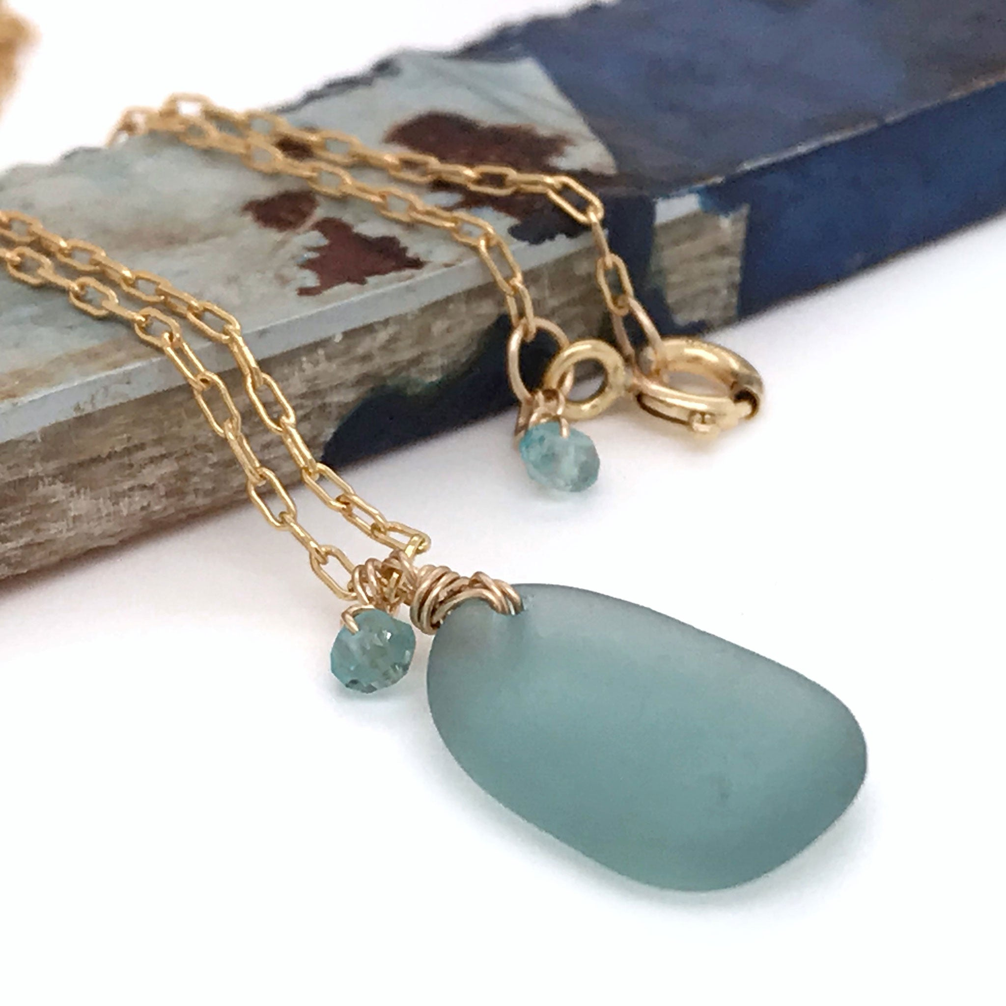 aqua beach glass on gold chain kriket broadhurst jewellery