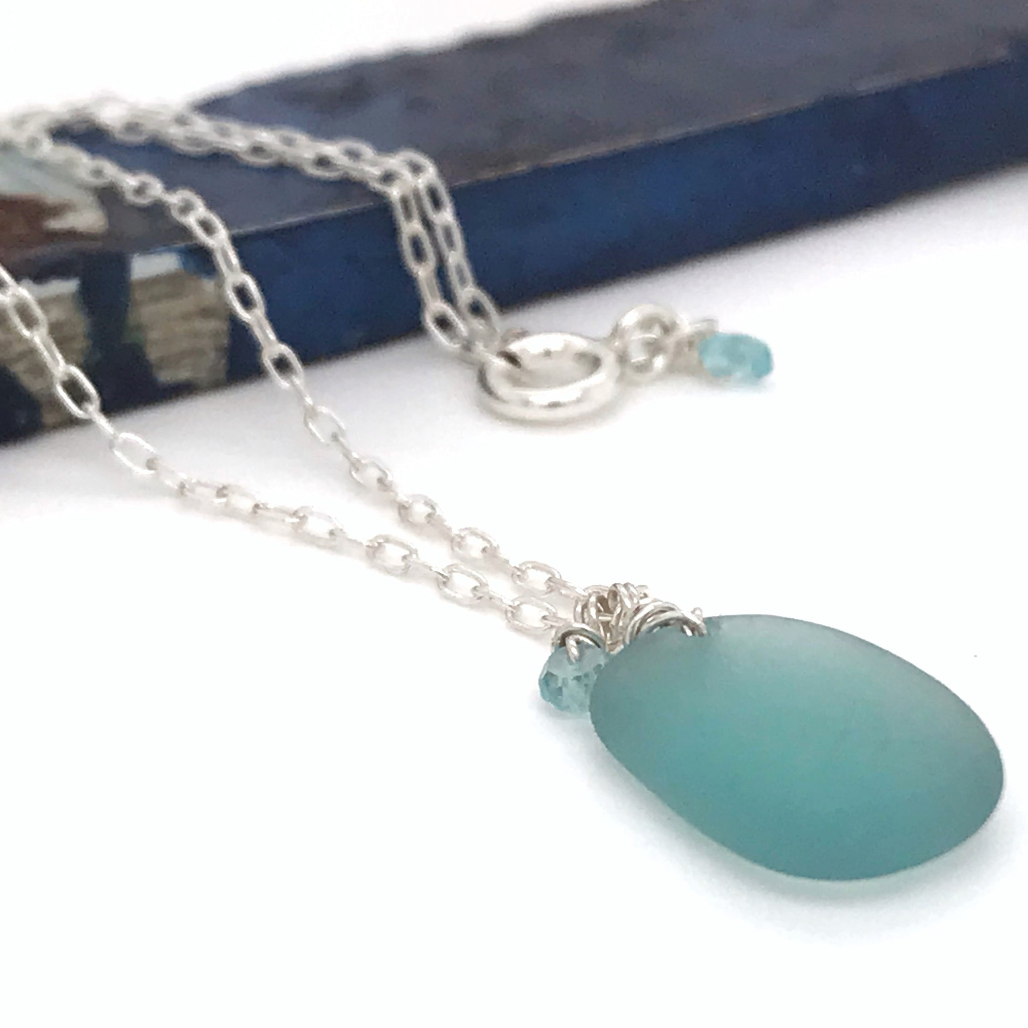 aqua sea glass necklace made in australia