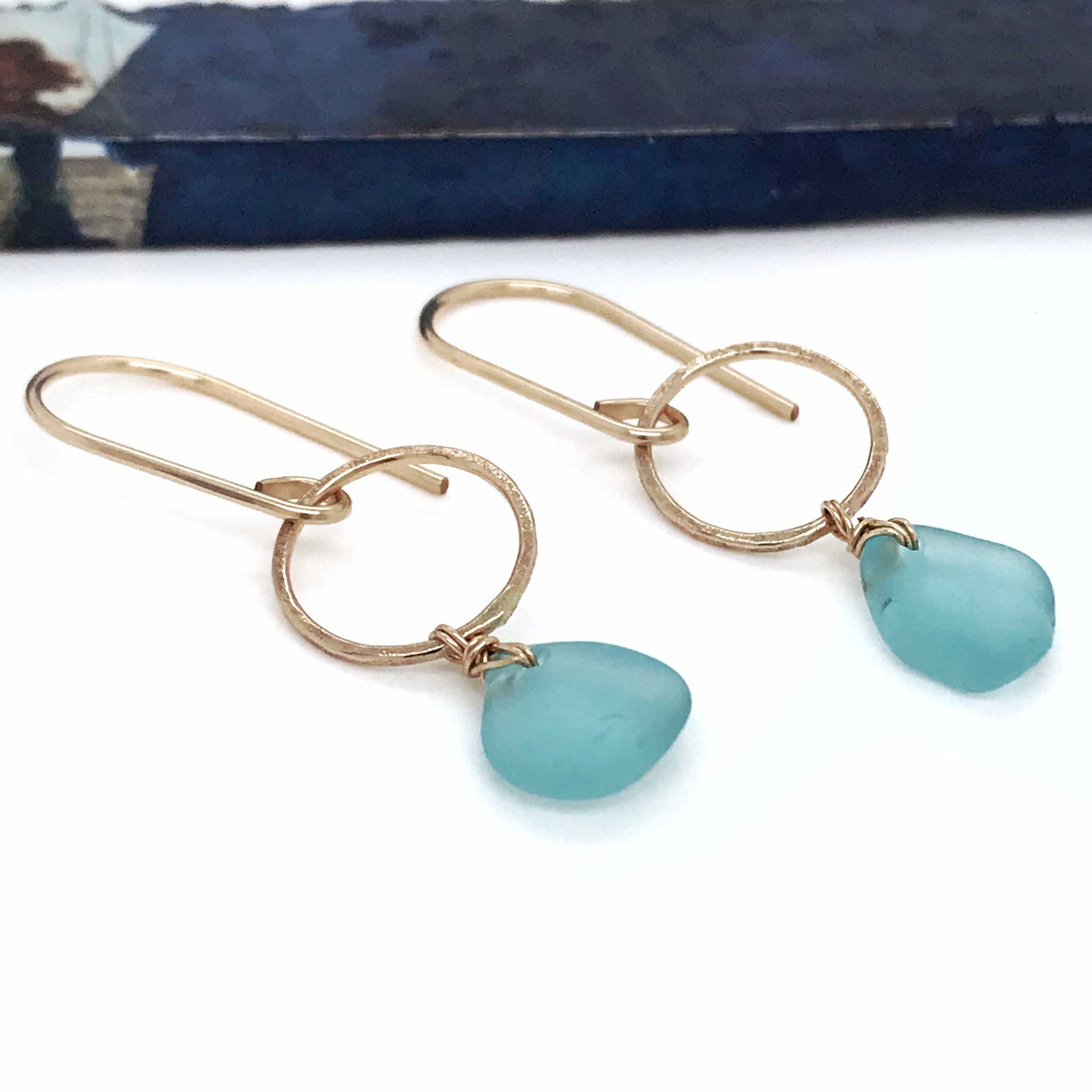 aqua beach glass on gold earrings kriket broadhurst jewellery