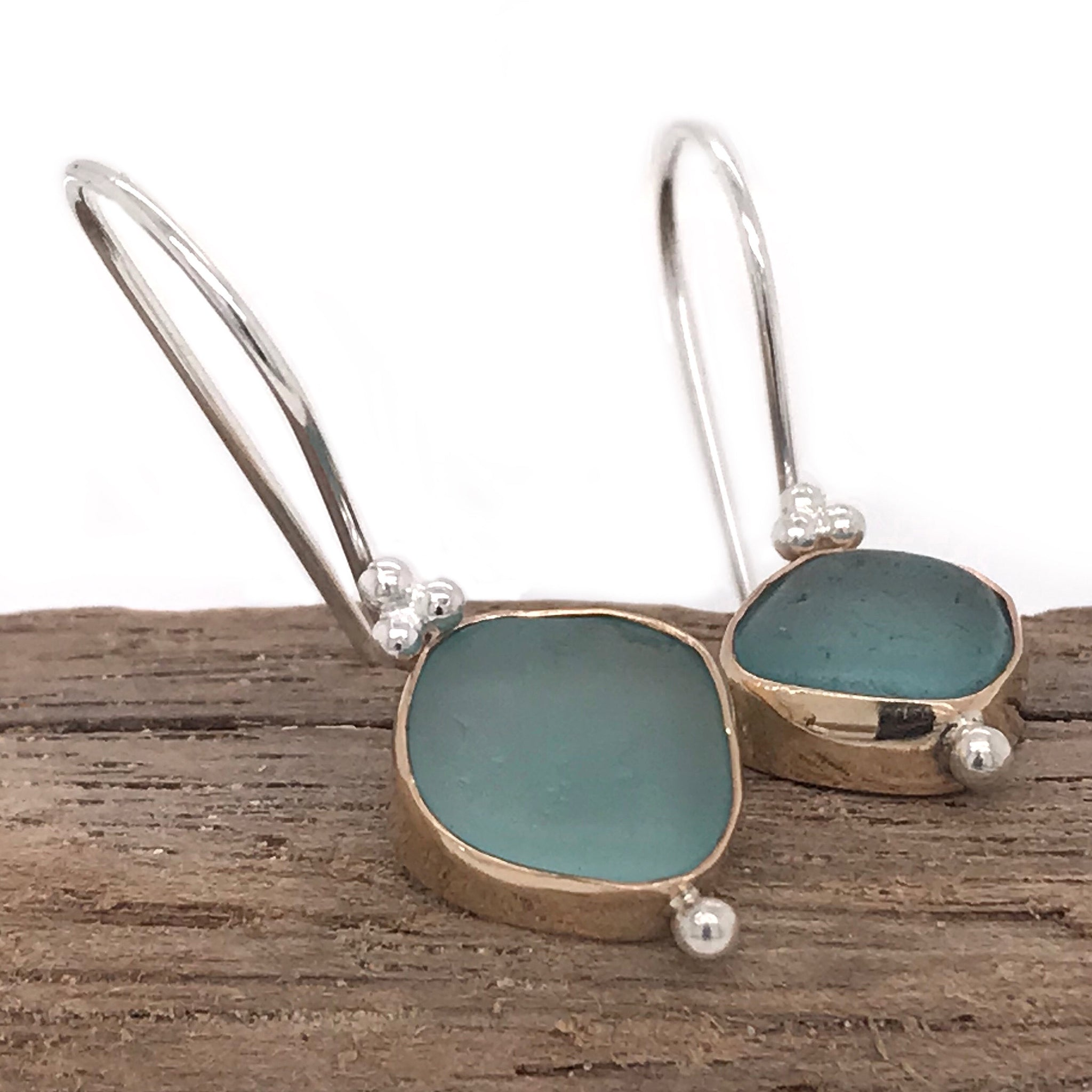 aqua seaglass gold bezel set earrings made in sydney