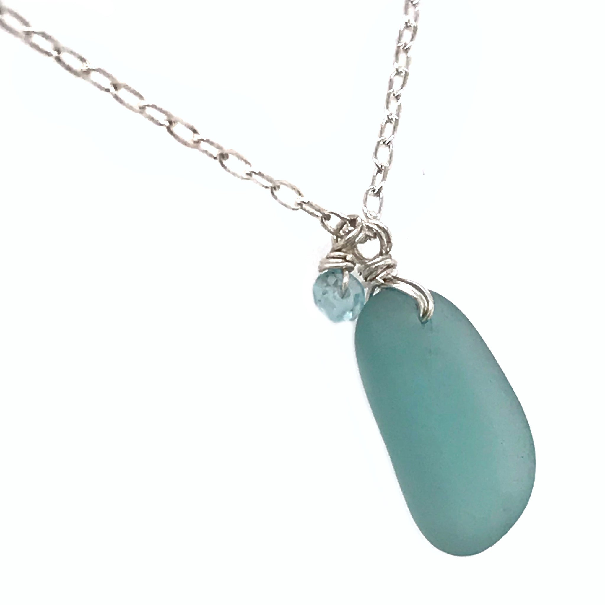 blue seaglass chain handmade in sydney