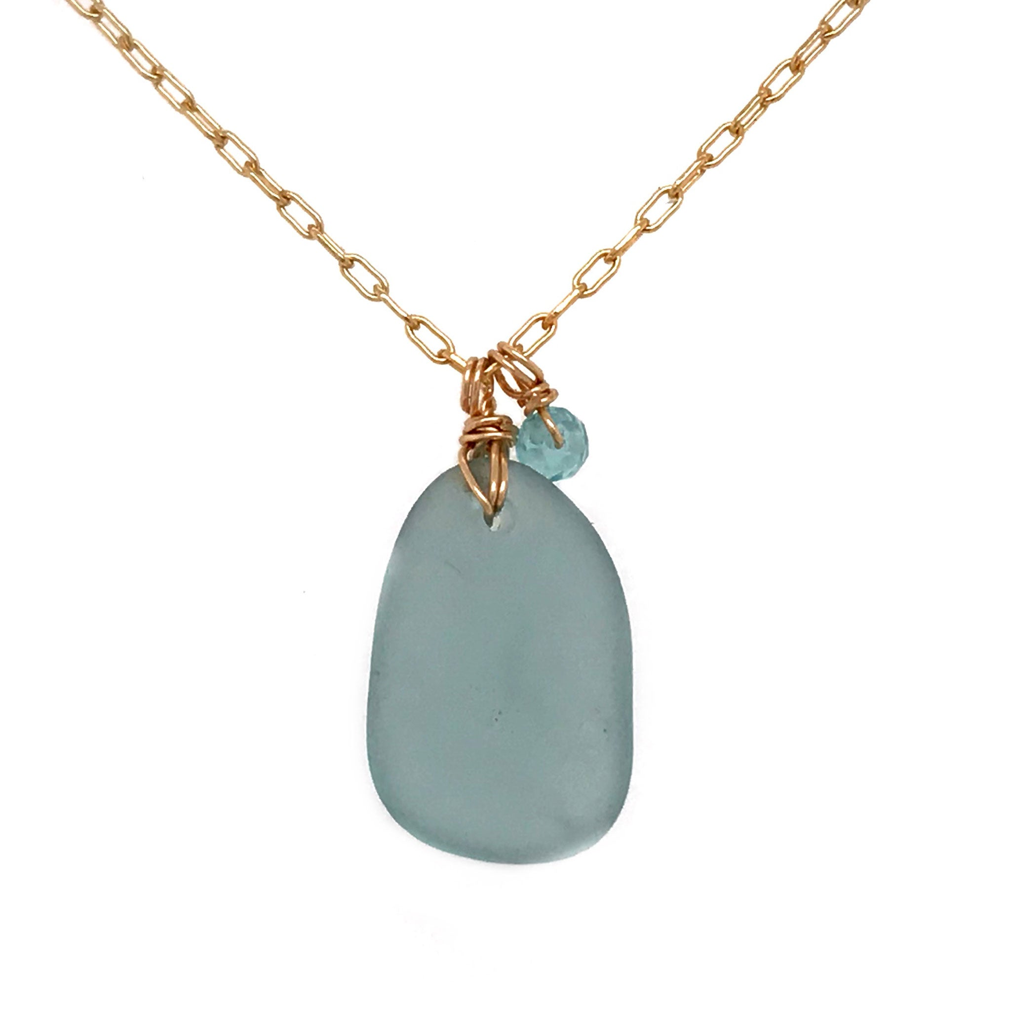 aqua seaglass necklace gold chain aquamarines kriket broadhurst jewellery