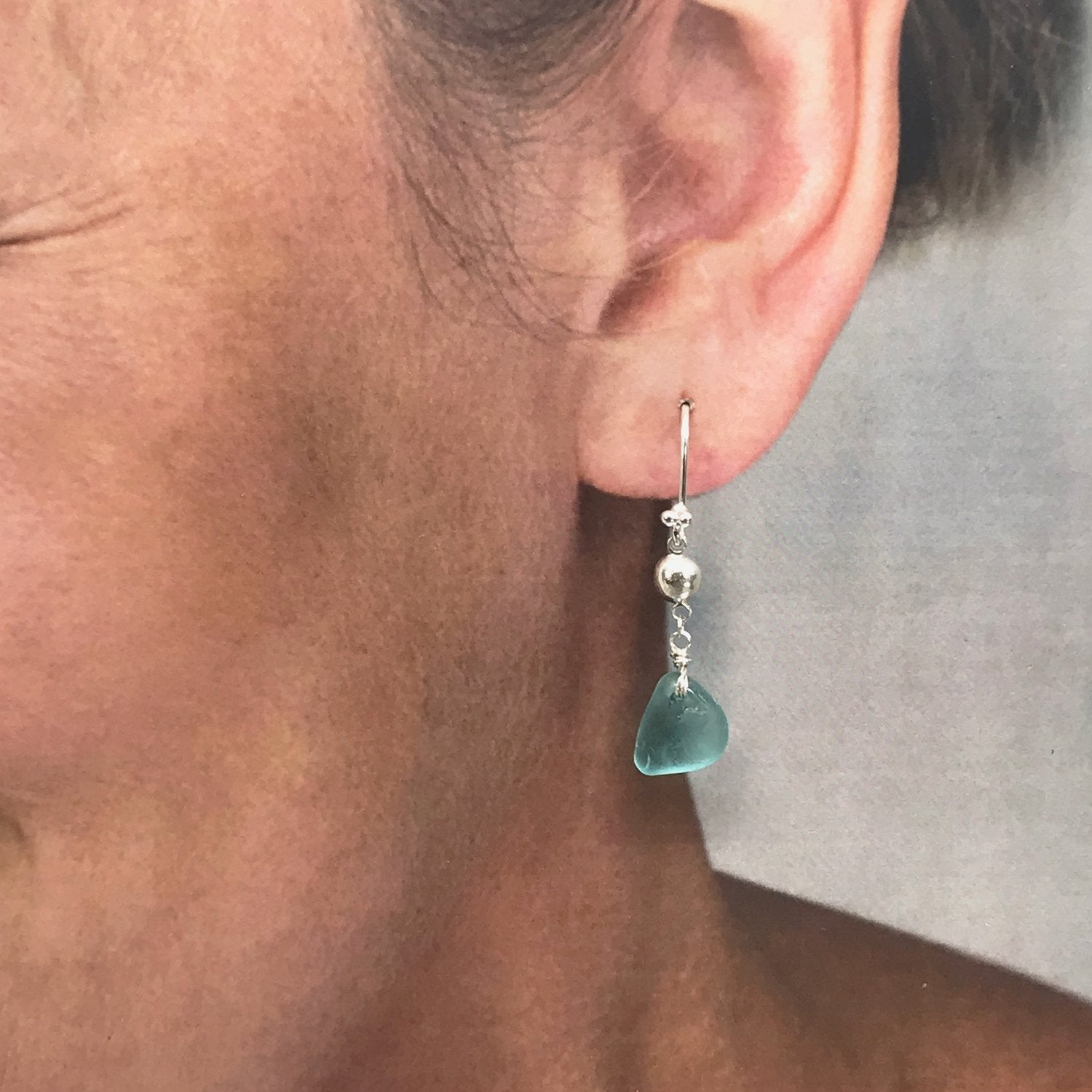 Aqua Seaglass Silver Chandelier Earrings - kriket-broadhurst