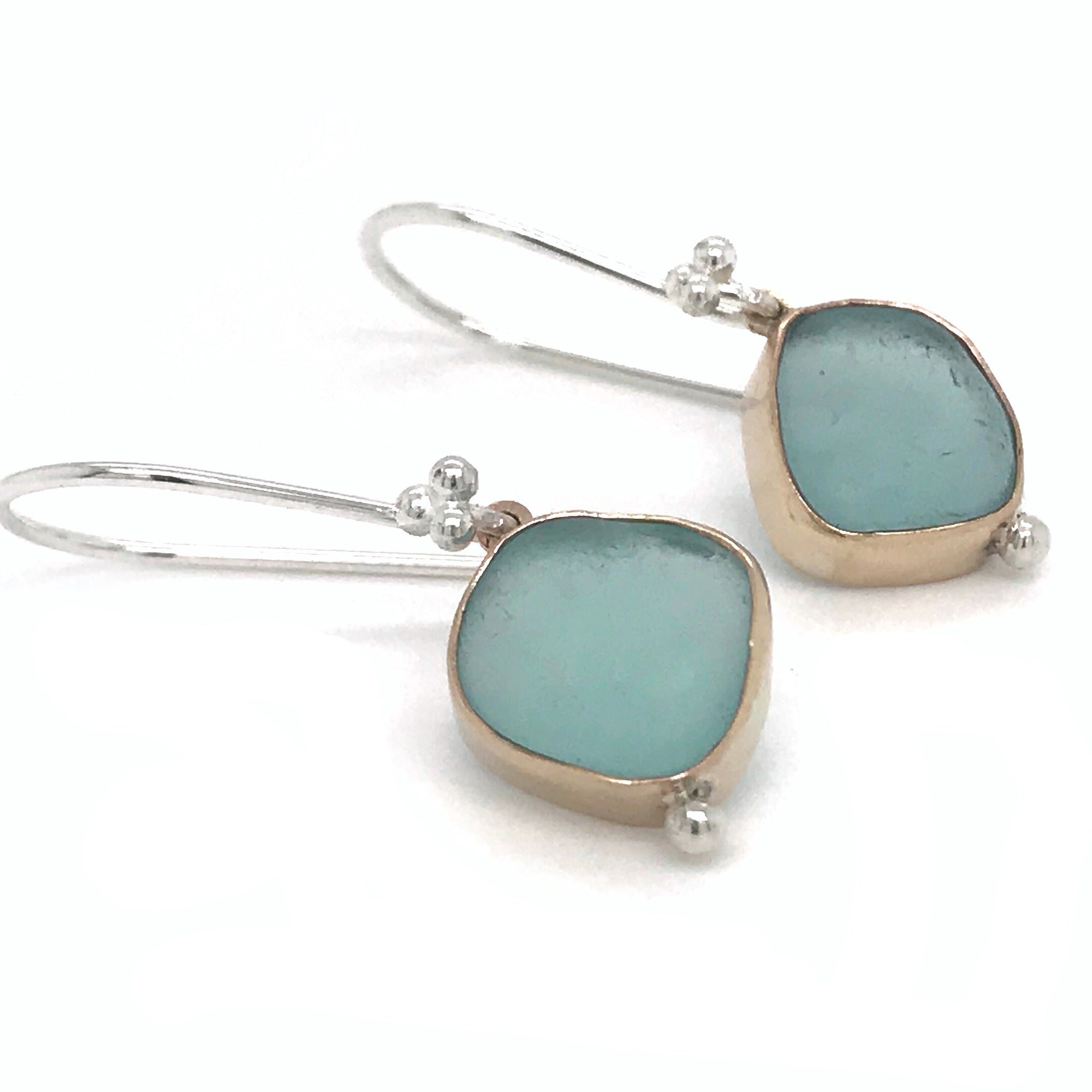 Aqua Seaglass Earrings Bezel Set in 14k Gold