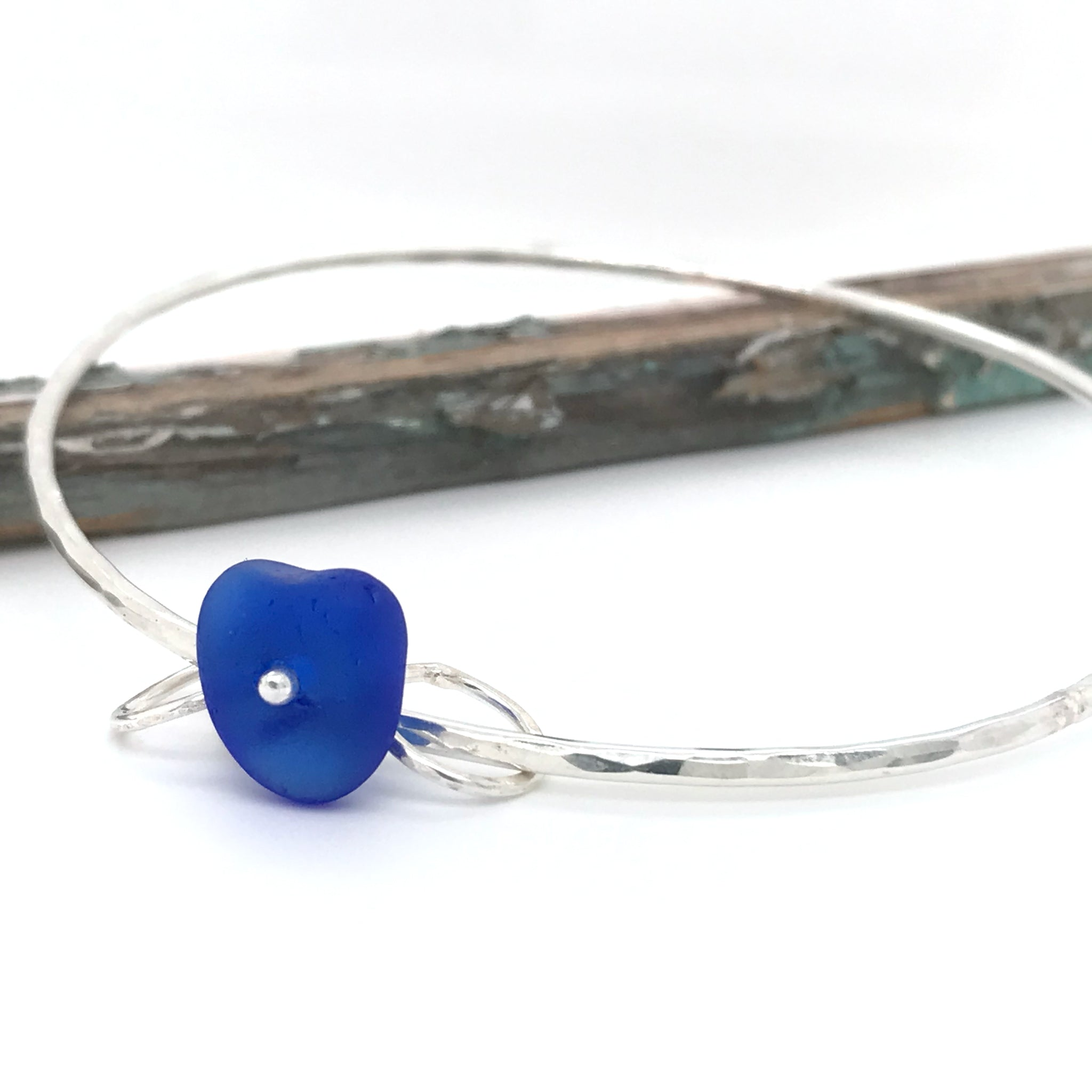 Sterling Silver Bangle with Cobalt Blue Seaglass - kriket-broadhurst