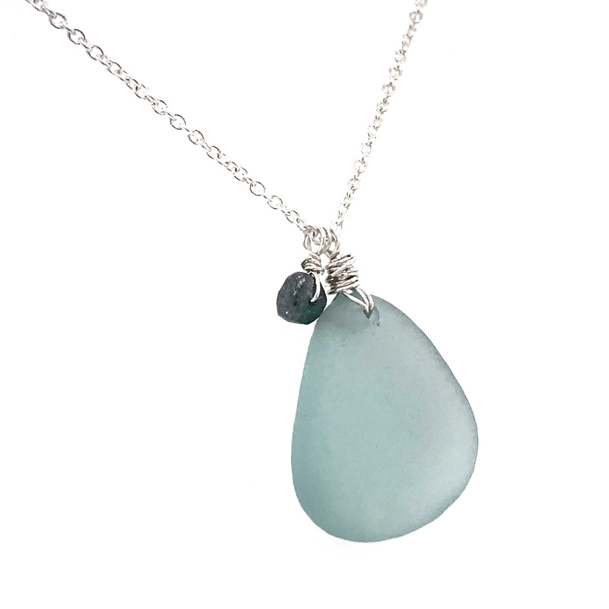 french blue seaglass and rough cut diamond on sterling silver necklace Kriket Broadhurst jewelry Sydney