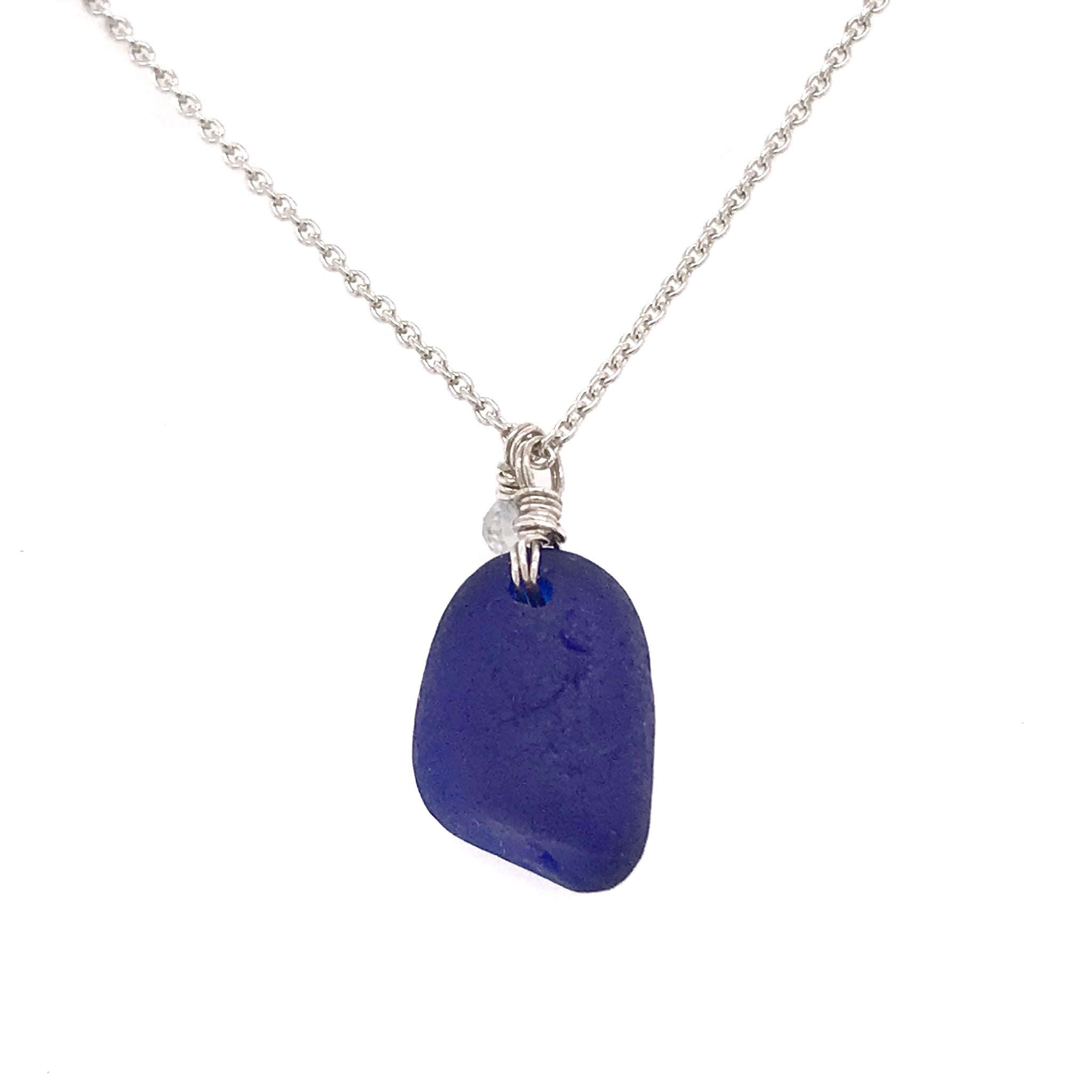 rare cobalt blue sea glass on sterling silver chain kriket broadhurst jewellery Australia