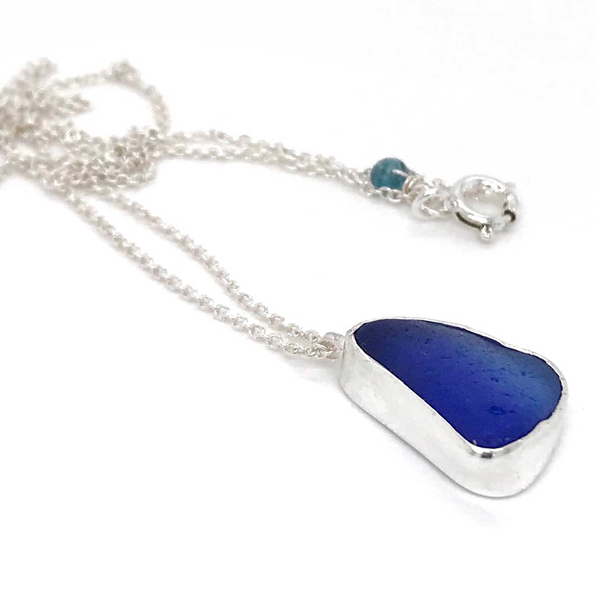 blue pendant necklace sea glass and sterling silver kriket broadhurst jewelry store near me