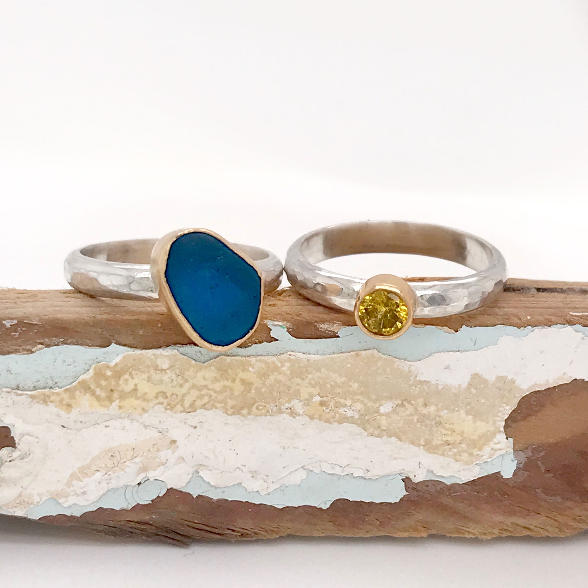 blue seaglass and yellow sapphire rings kriket broadhurst jewelry